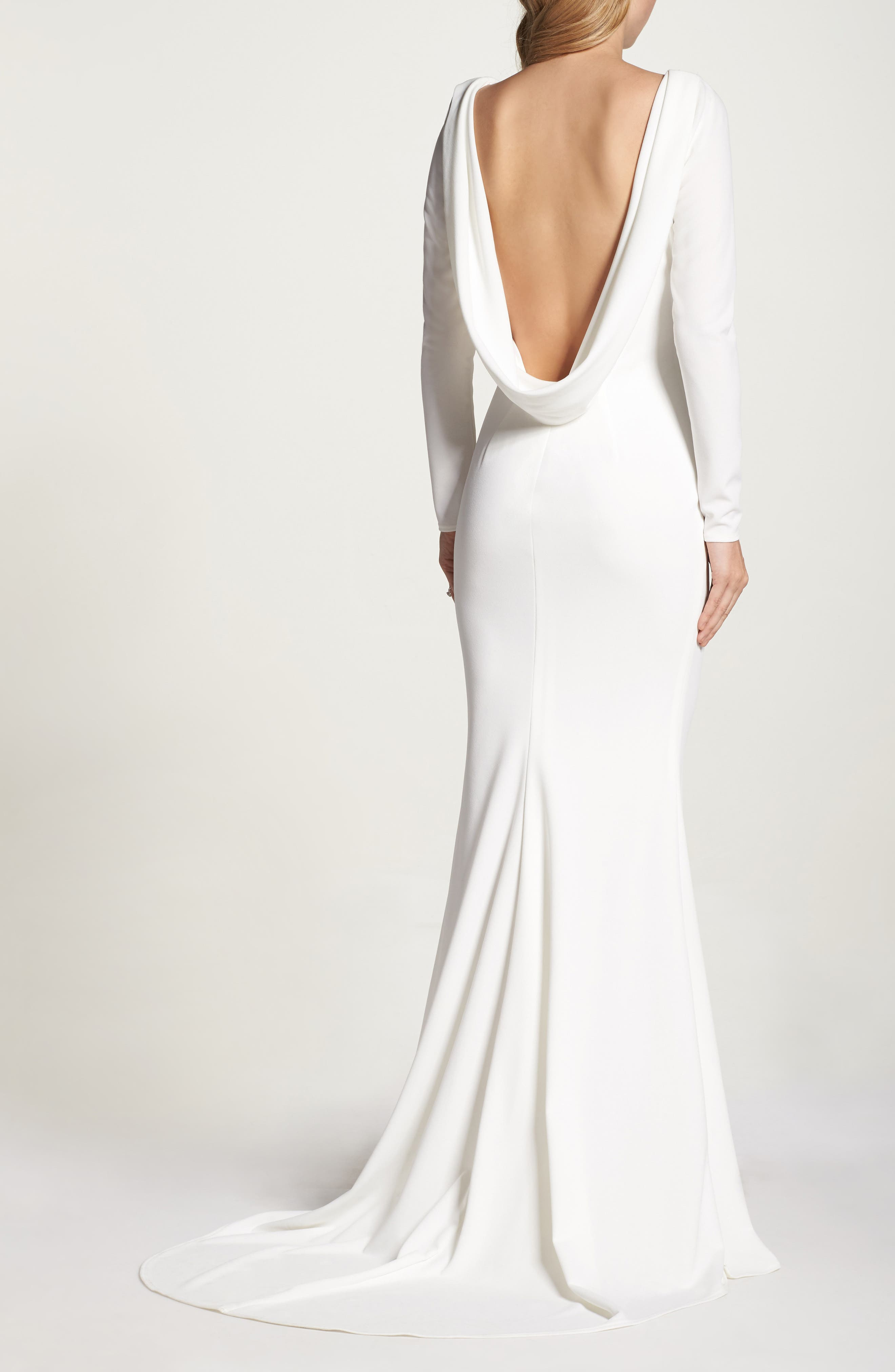 Cowl Back Crepe Gown,                             Alternate thumbnail 9, color,                             Ivory