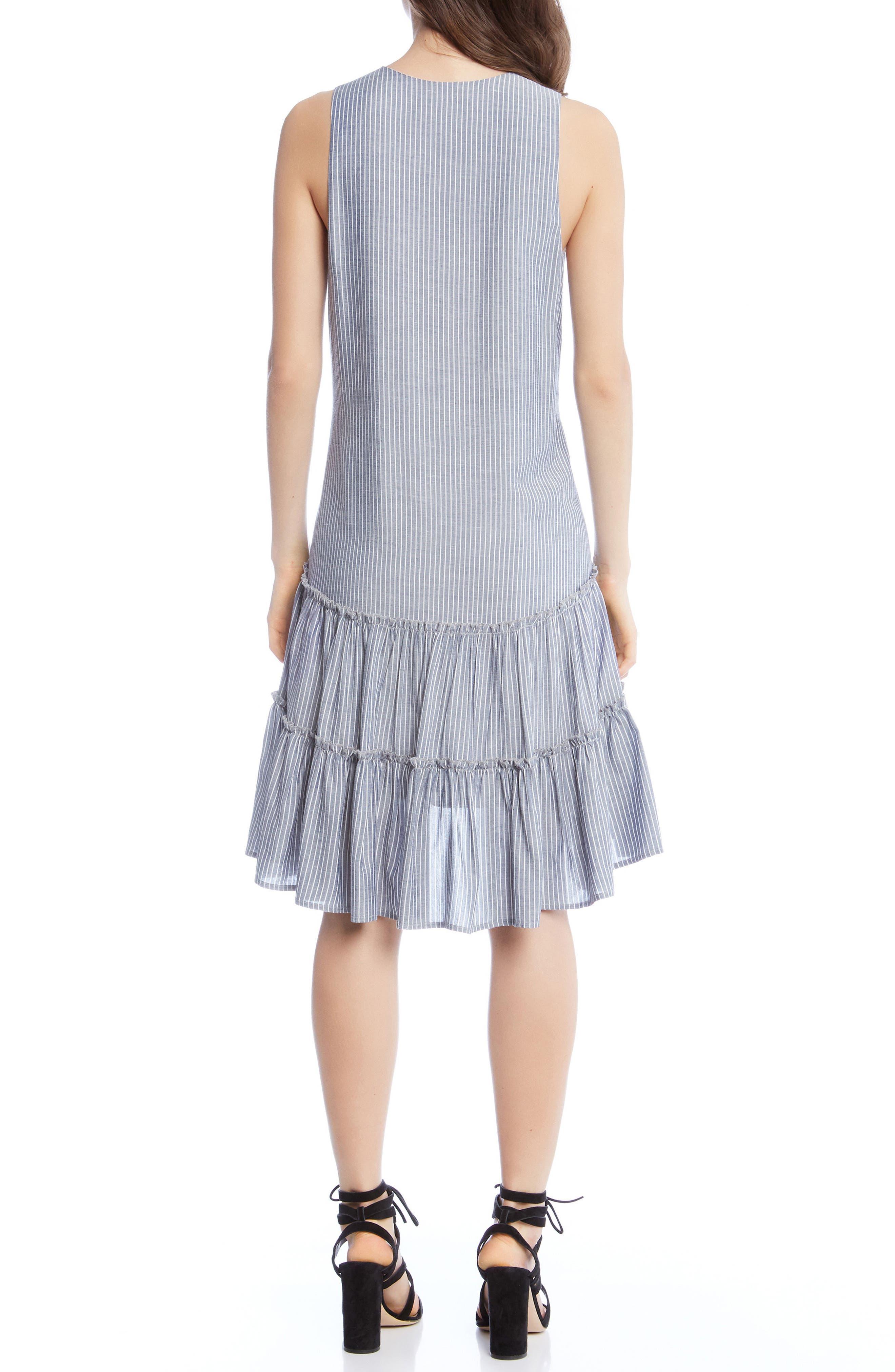 Ruffle Hem Dress,                             Alternate thumbnail 2, color,                             Stripe