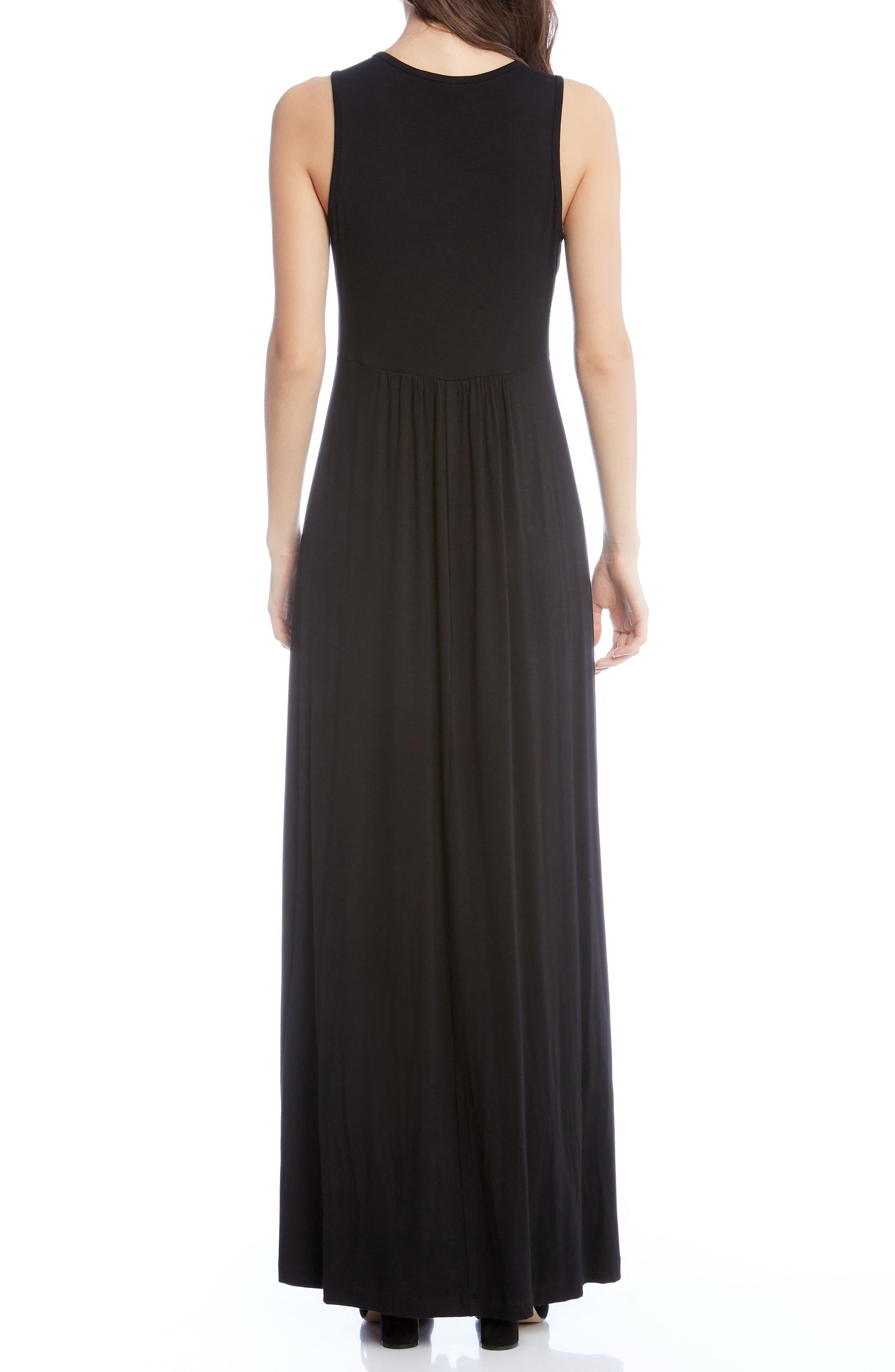 Jersey Knit Maxi Dress,                             Alternate thumbnail 2, color,                             Black