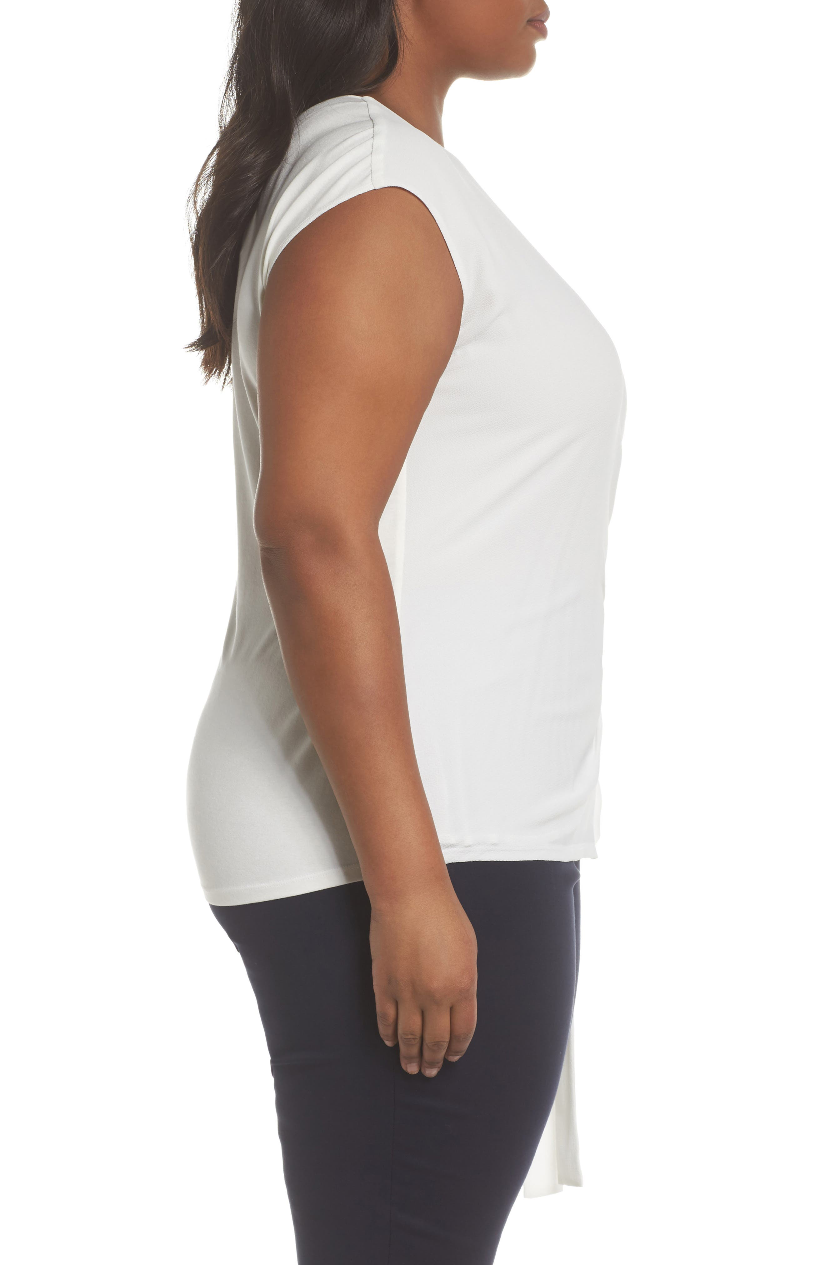 Alternate Image 3  - Vince Camuto Side Tie Mixed Media Top (Plus Size)