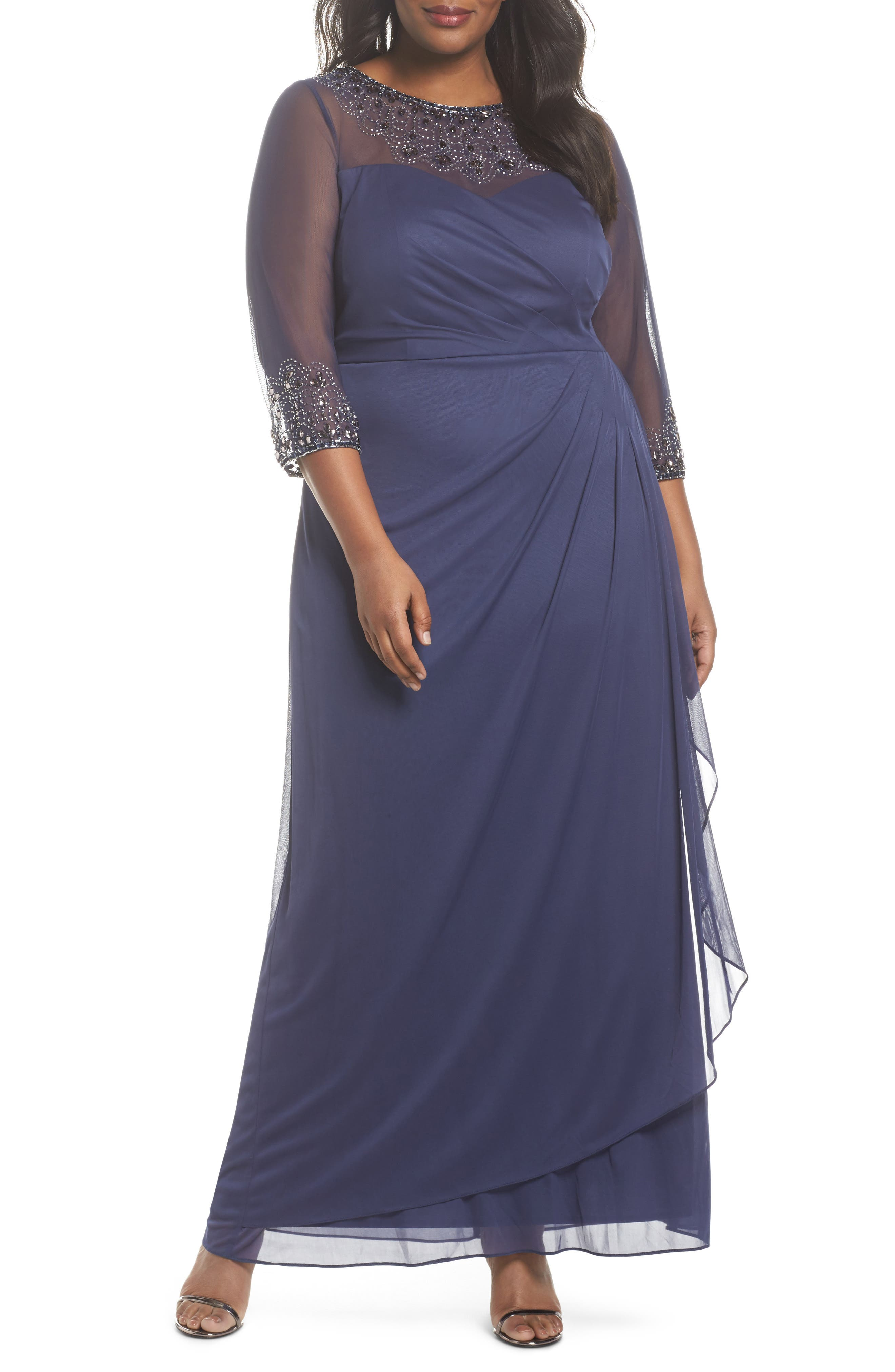 Beaded Illusion Neck A-Line Gown,                             Main thumbnail 1, color,                             Violet