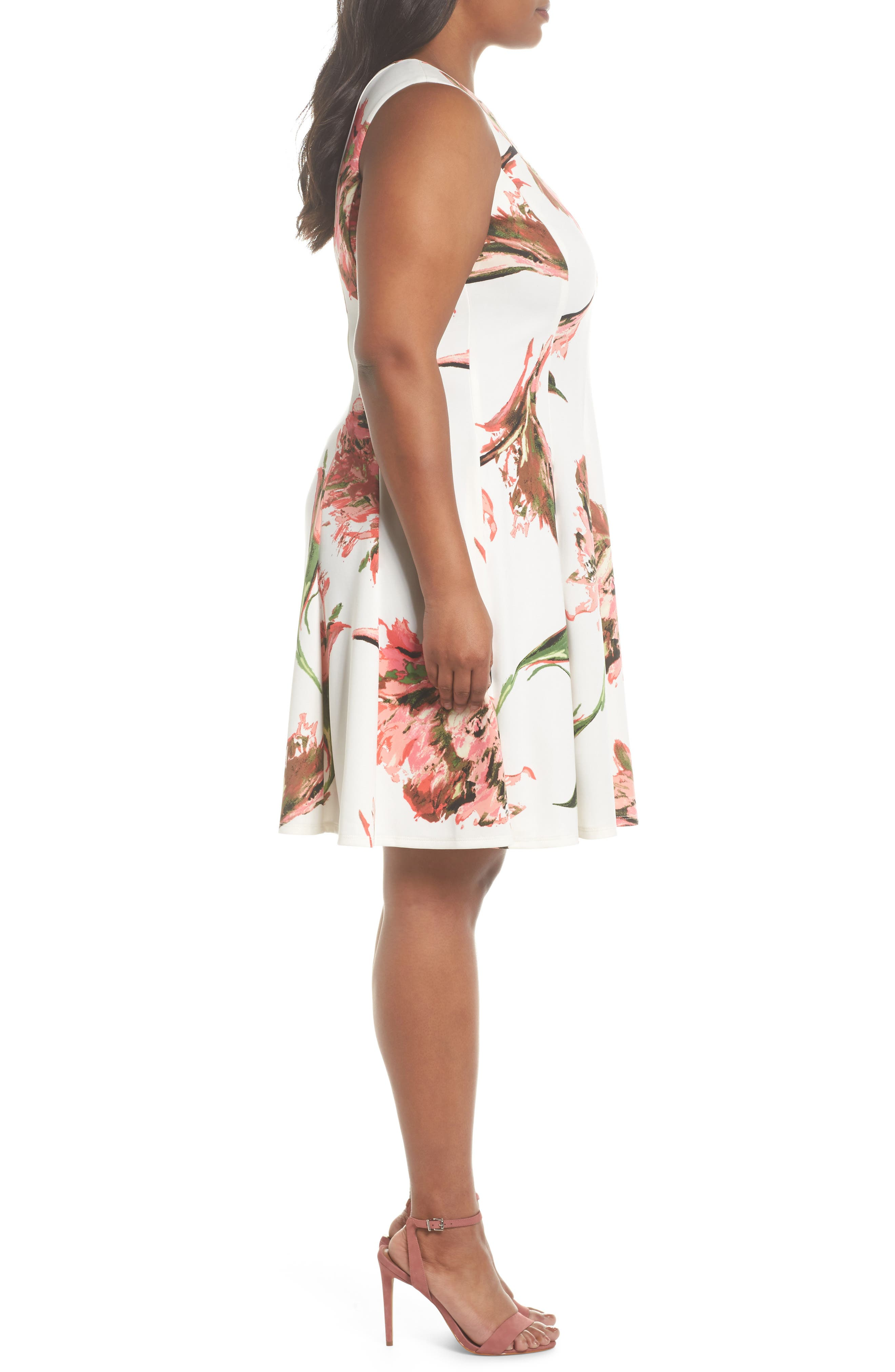 Floral Keyhole Fit & Flare Dress,                             Alternate thumbnail 3, color,                             Coral/ Ivory
