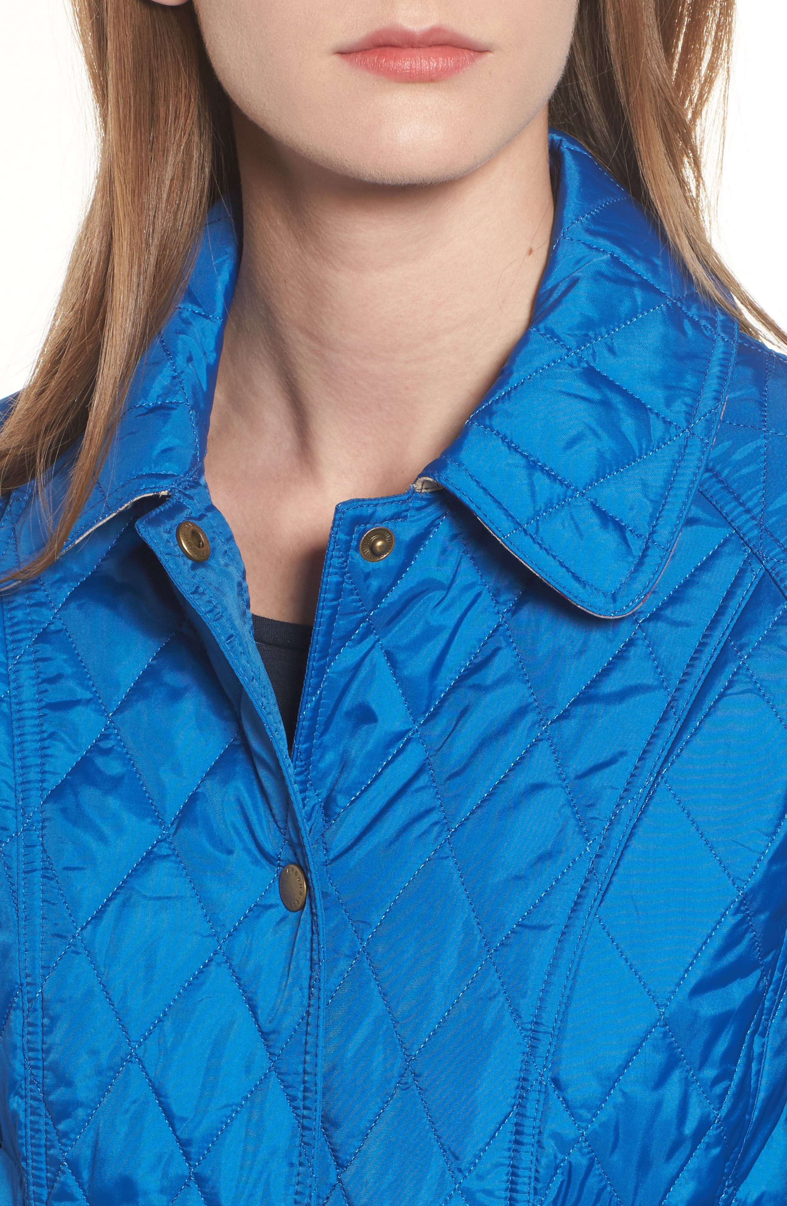 'Beadnell - Summer' Quilted Jacket,                             Alternate thumbnail 4, color,                             Victoria Blue