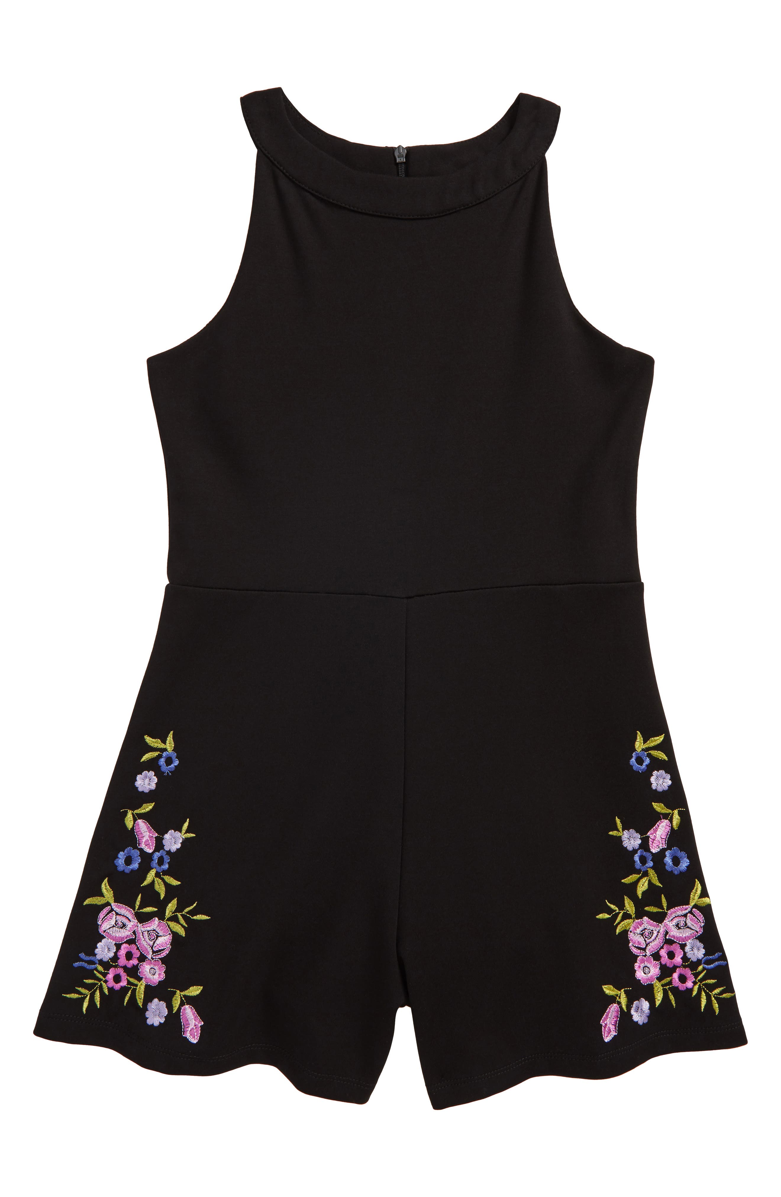 Embroidered Romper,                         Main,                         color, Black