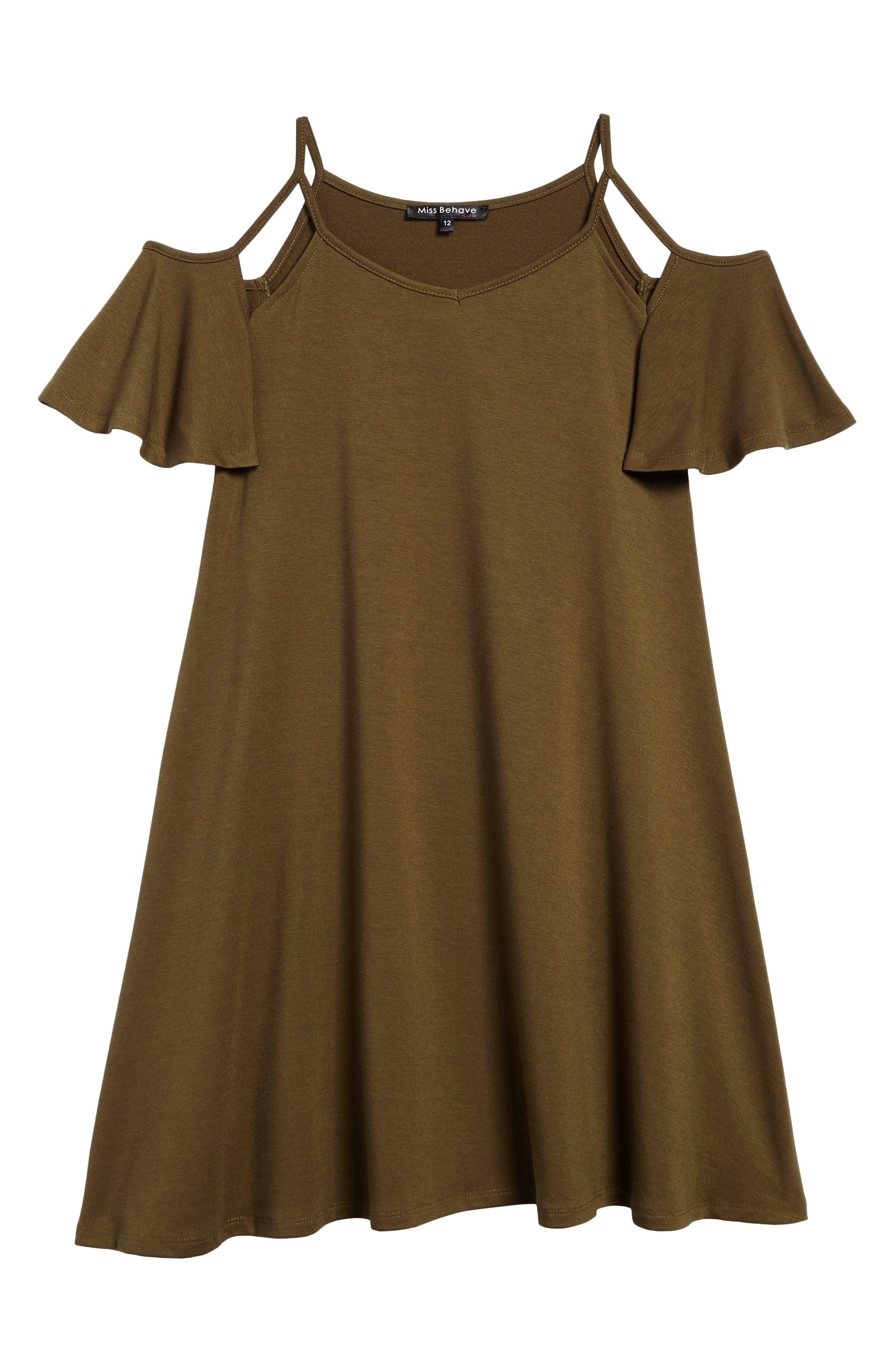 Main Image - Miss Behave Cold Shoulder Dress (Big Girls)