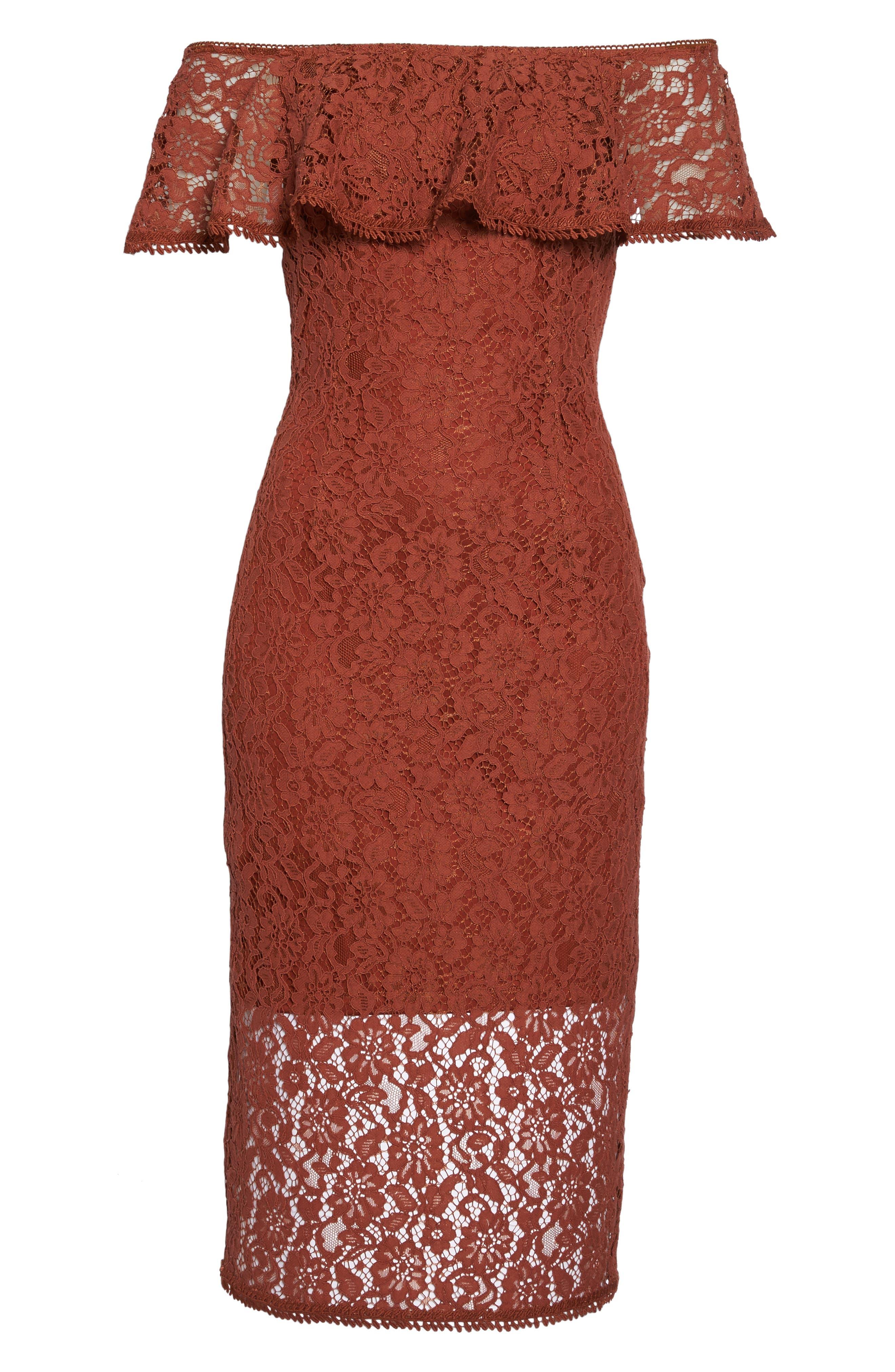 Lace Off the Shoulder Midi Dress,                             Alternate thumbnail 6, color,                             Cinnabar