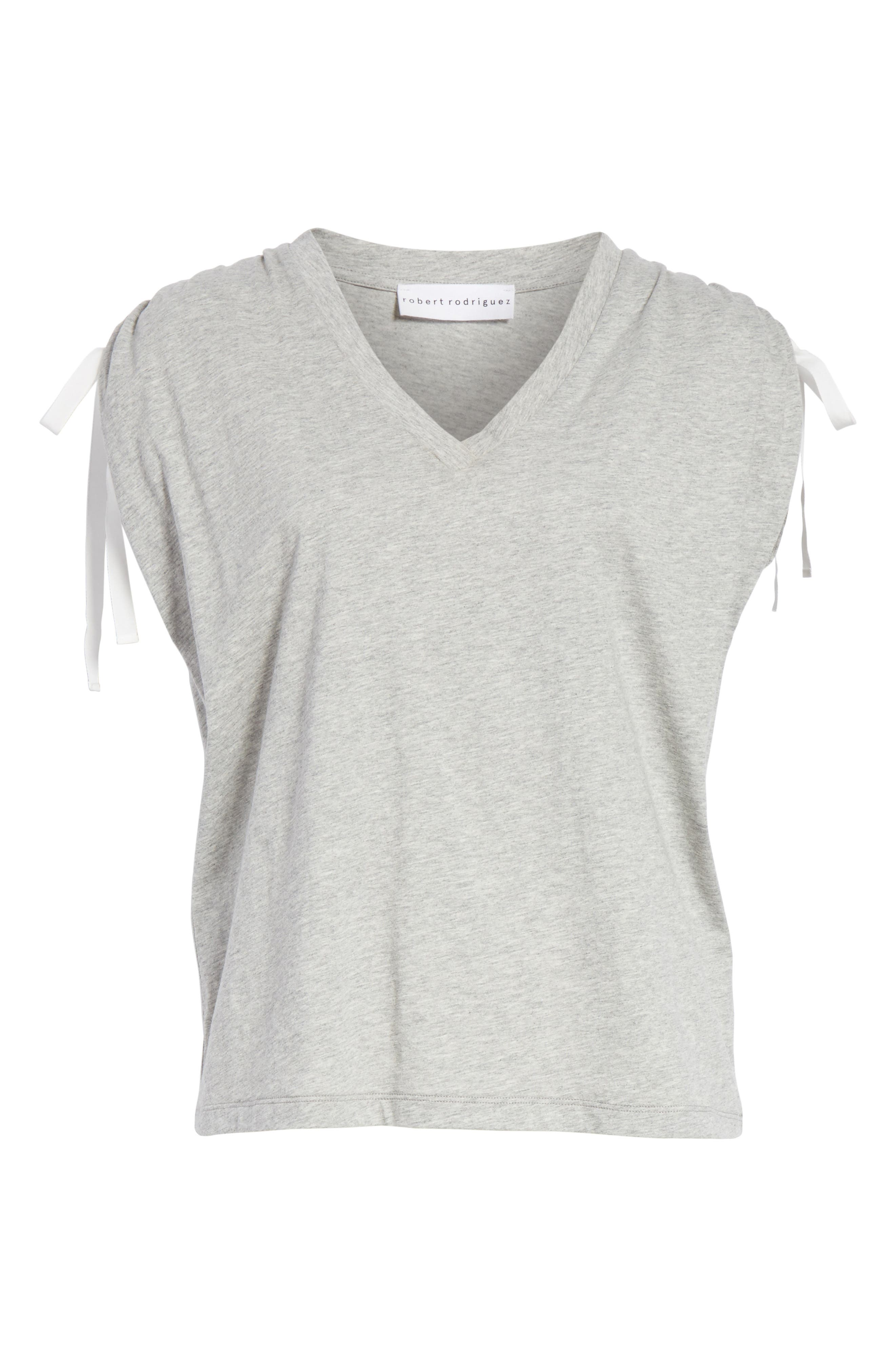 Ruched Shoulder Tee,                             Alternate thumbnail 6, color,                             Heather Grey