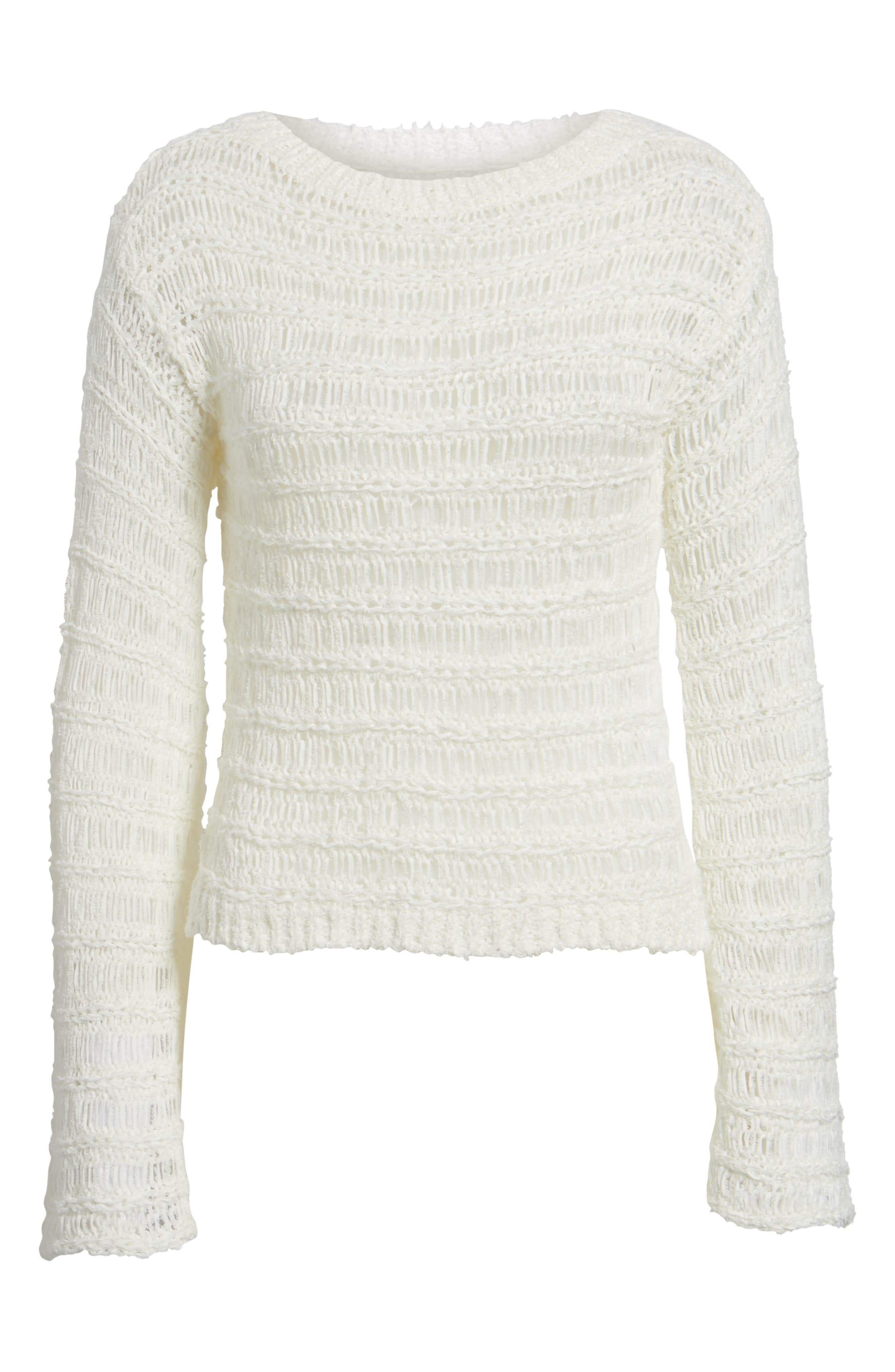 Ladder Stitch Sweater,                             Alternate thumbnail 6, color,                             Ivory