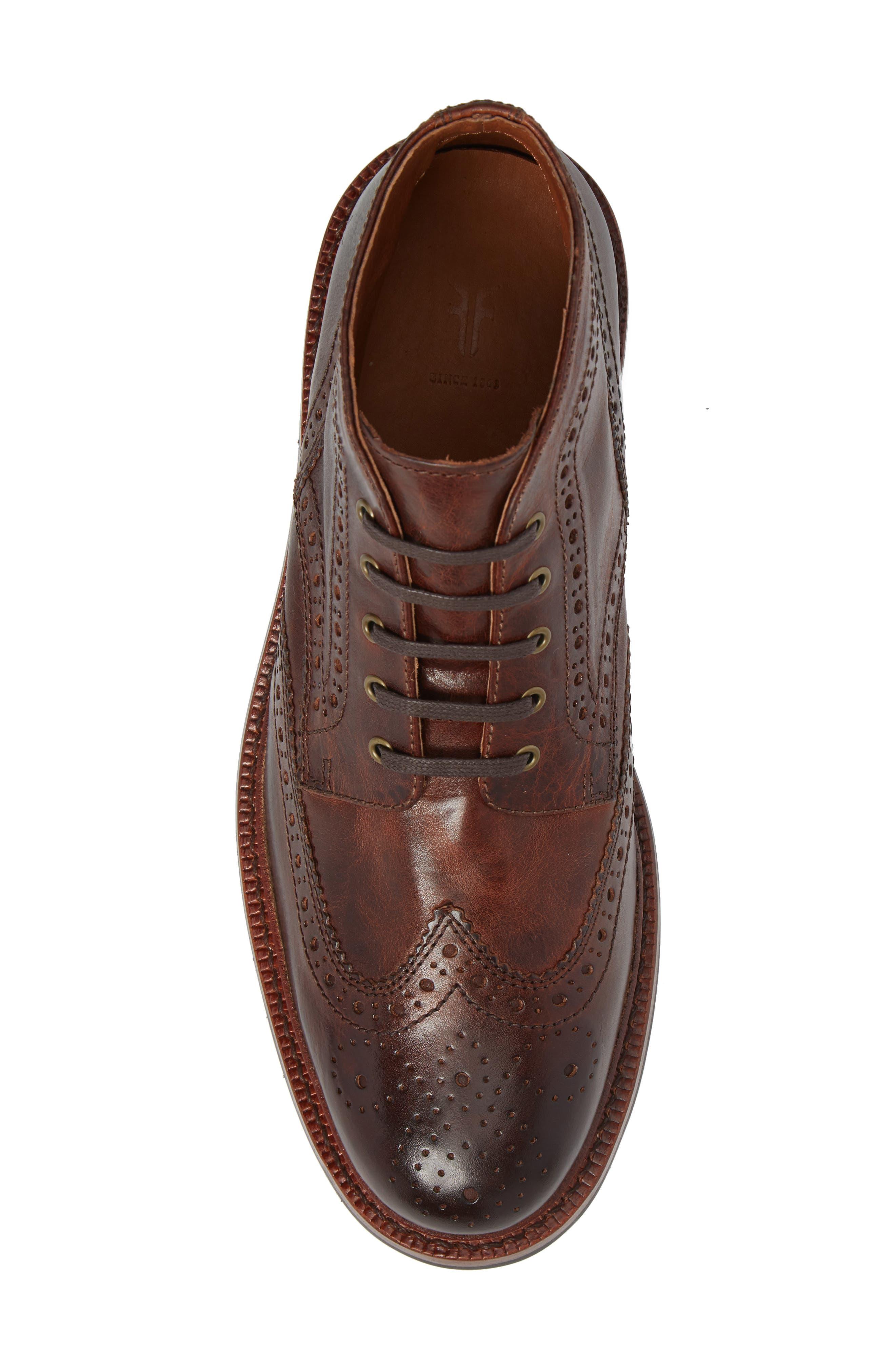 Graham Wingtip Boot,                             Alternate thumbnail 5, color,                             Cognac Leather