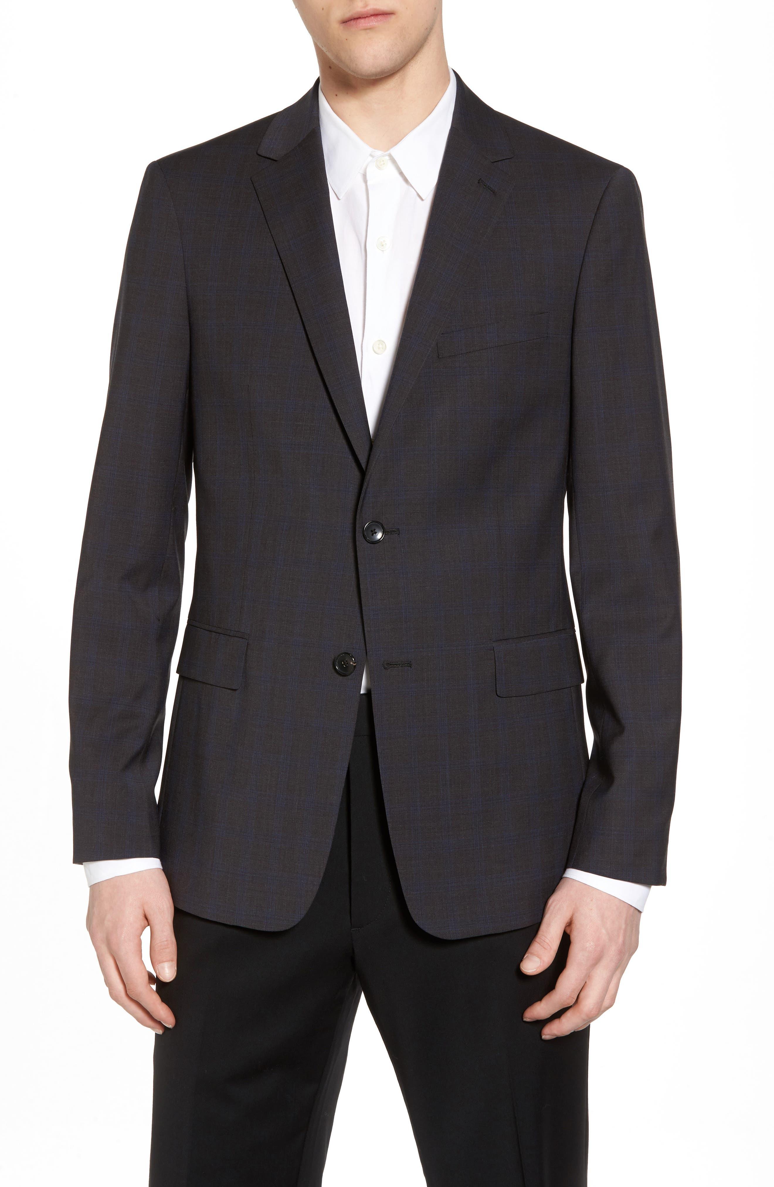 Wellar Grey Blue Plaid Sport Coat,                         Main,                         color, Grey