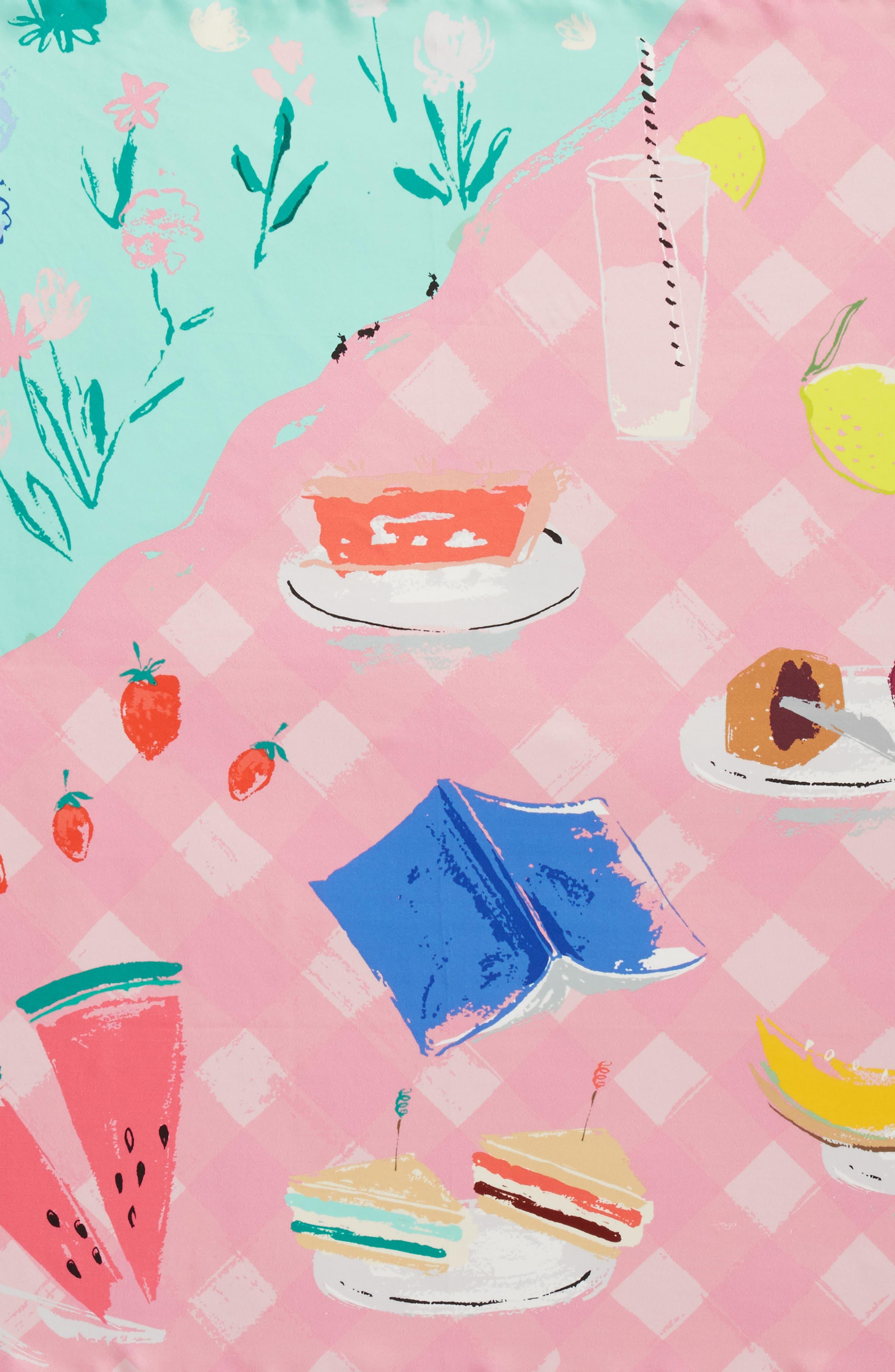 picnic square silk scarf,                             Alternate thumbnail 4, color,                             Mint Foam