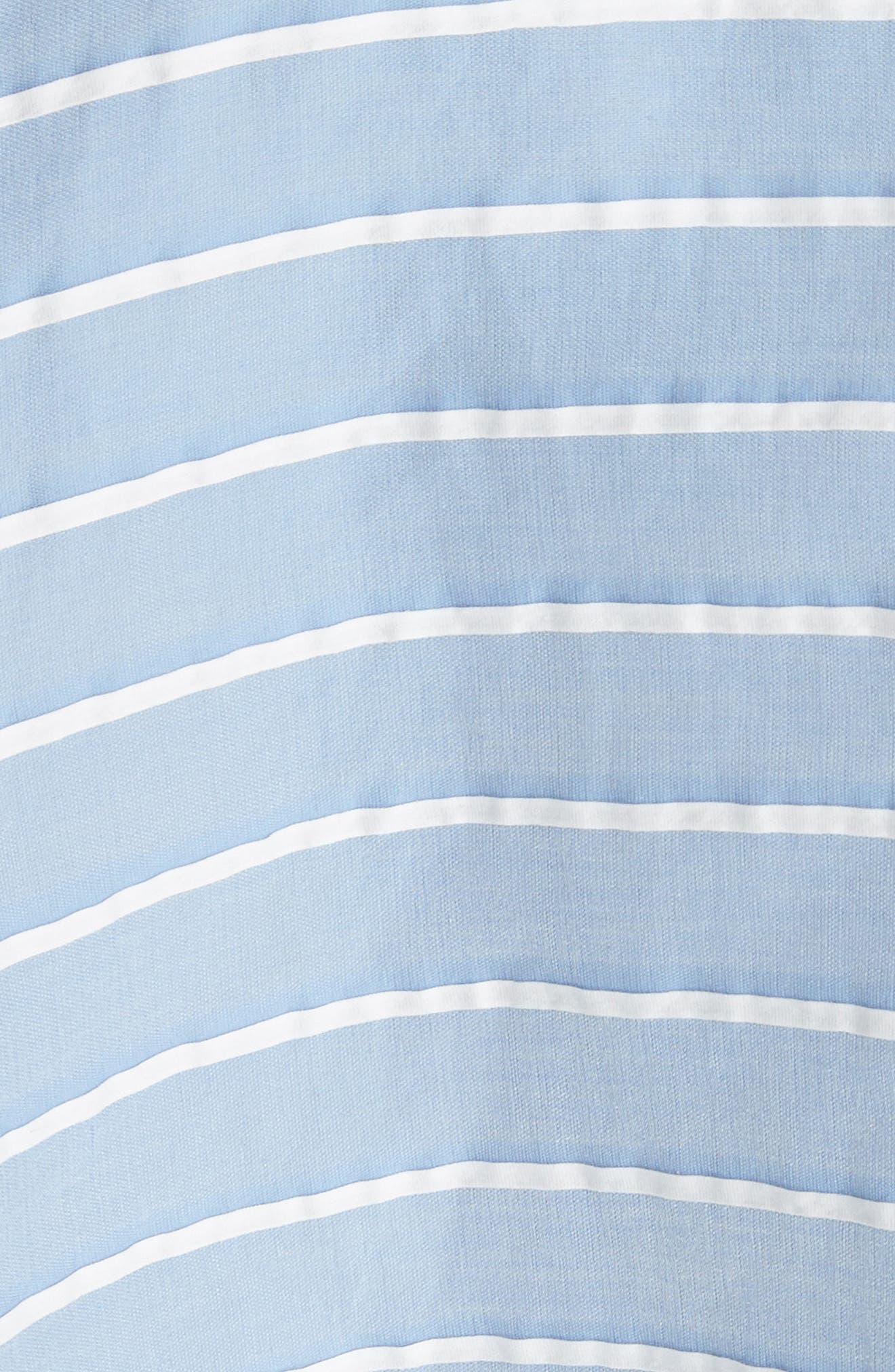 Lace Trim Asymmetrical Dress,                             Alternate thumbnail 5, color,                             White/ Chambray