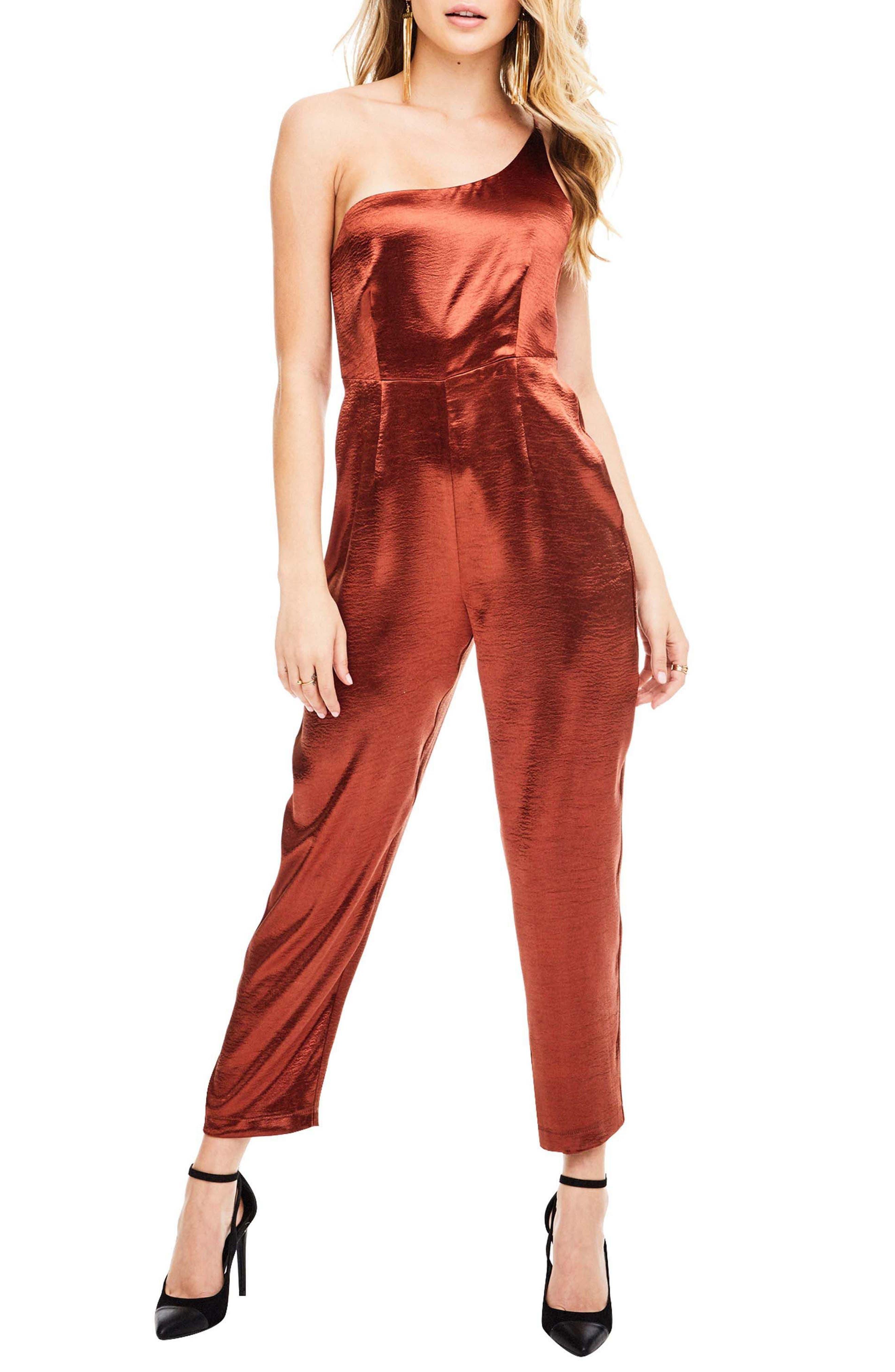 Jana One Shoulder Jumpsuit,                         Main,                         color, Rust
