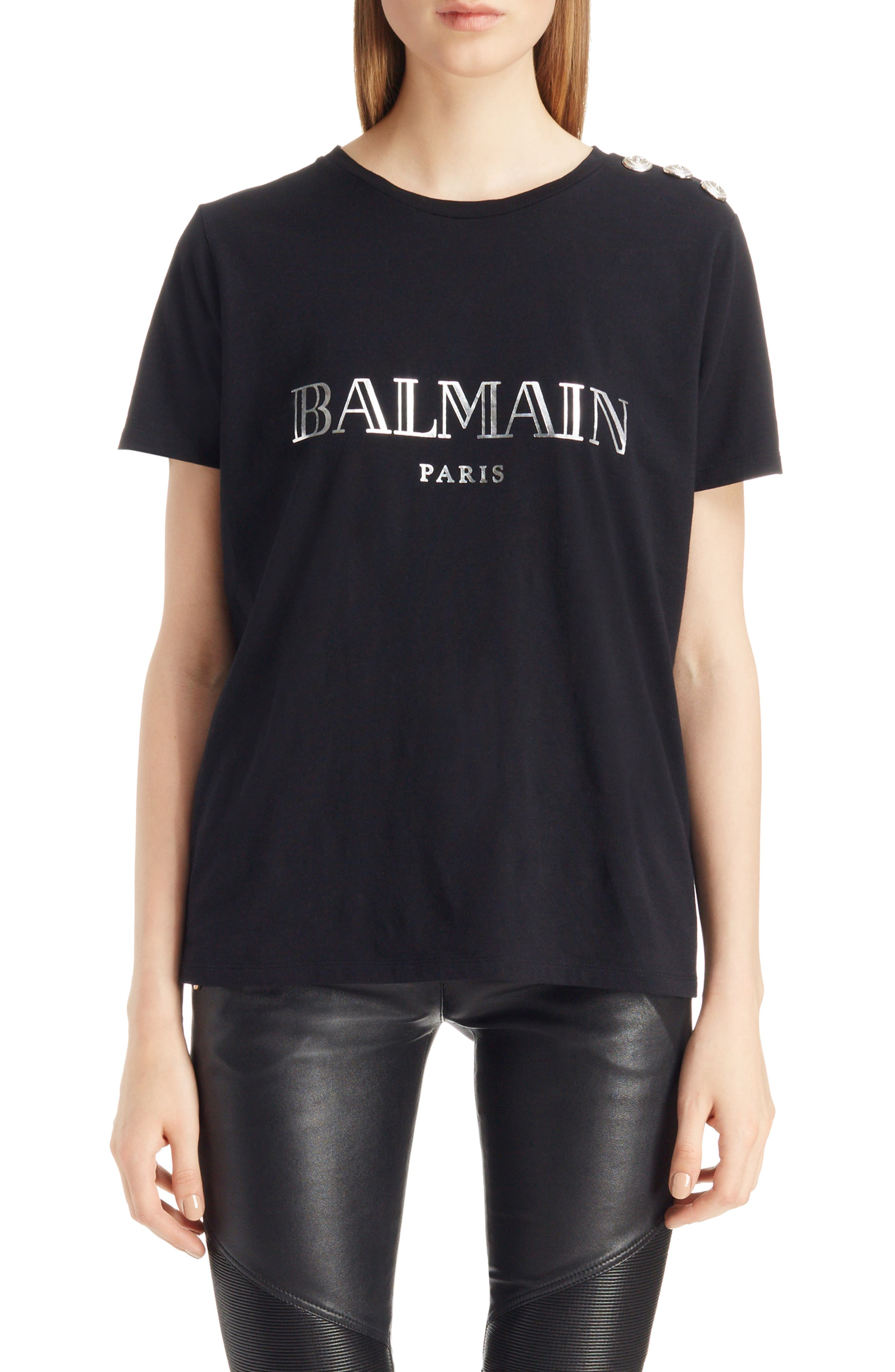 Main Image - Balmain Button Shoulder Logo Tee