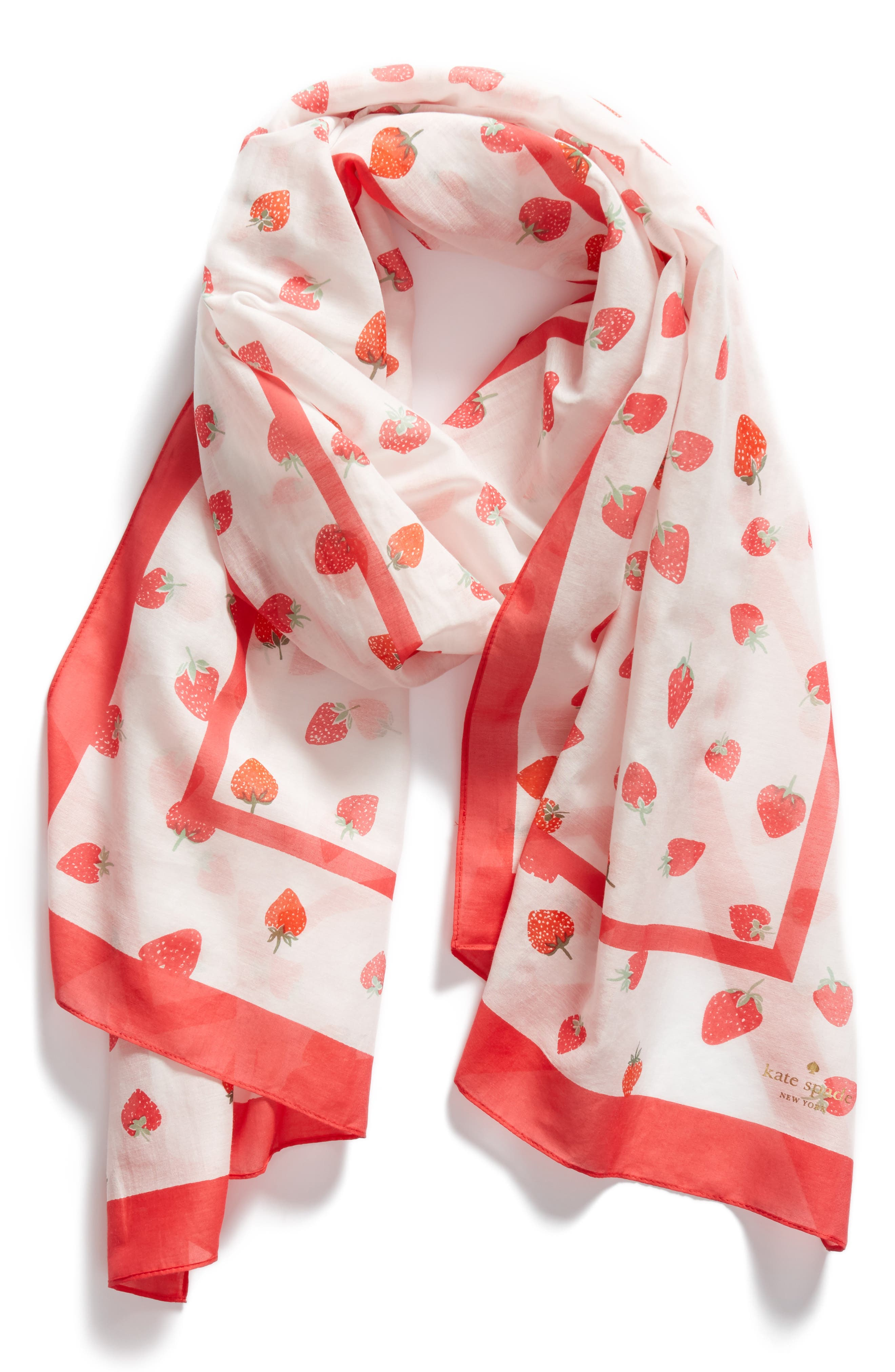tossed berry cotton & silk scarf,                             Alternate thumbnail 3, color,                             Cream