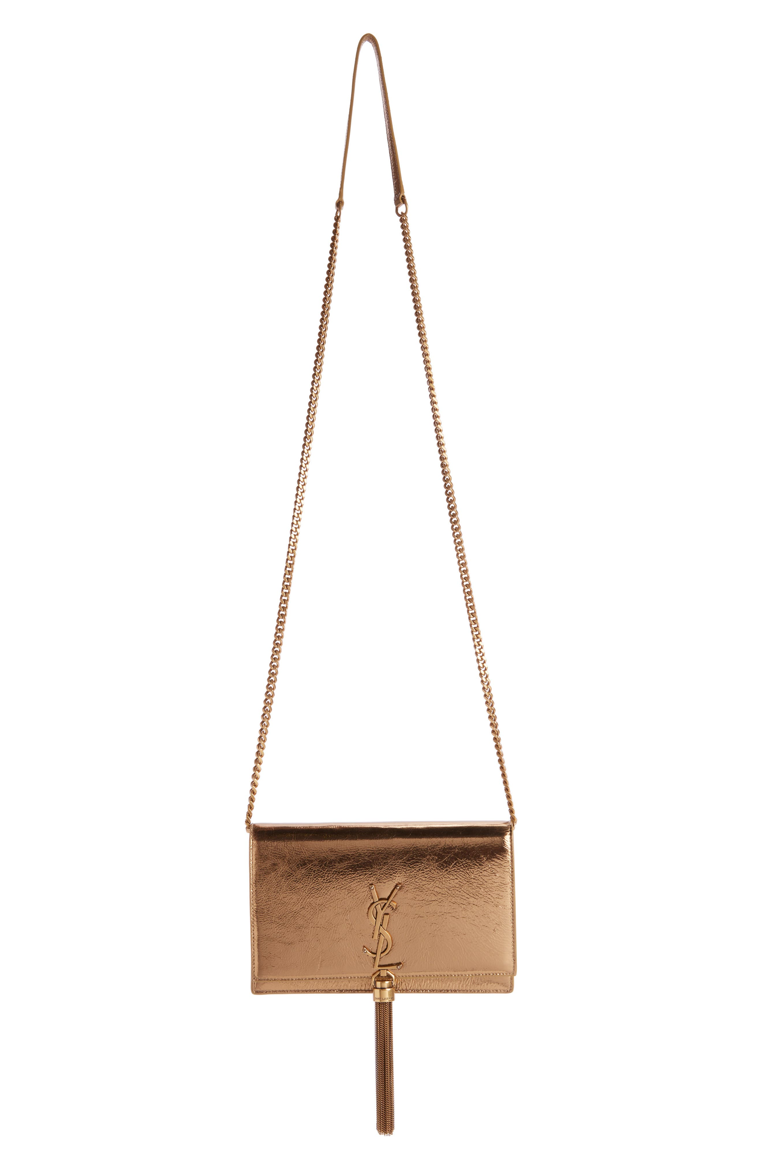 Kate Metallic Leather Wallet on a Chain,                         Main,                         color, Gold