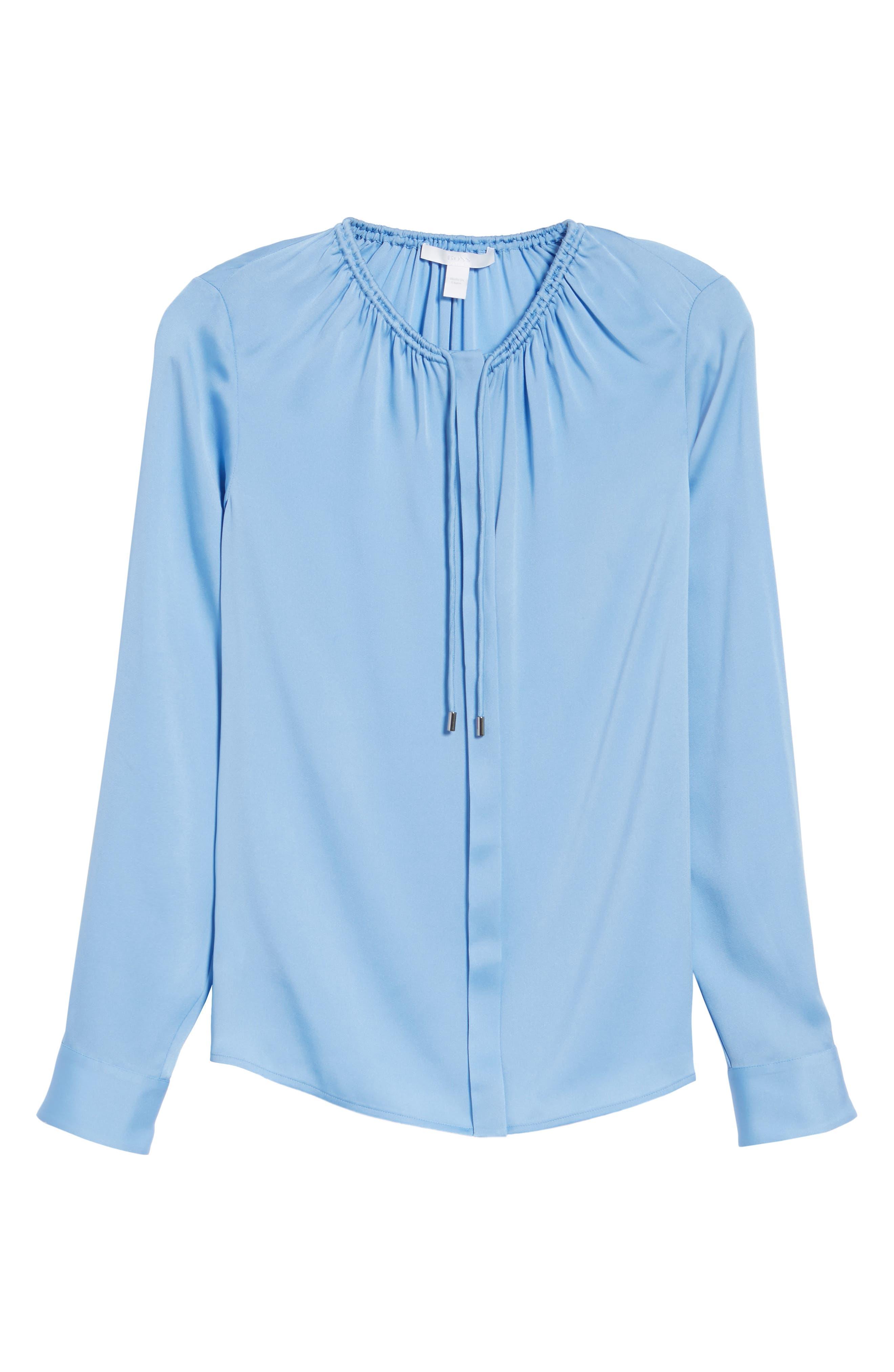 Banorana Stretch Silk Blouse,                             Alternate thumbnail 6, color,                             Blue Sky