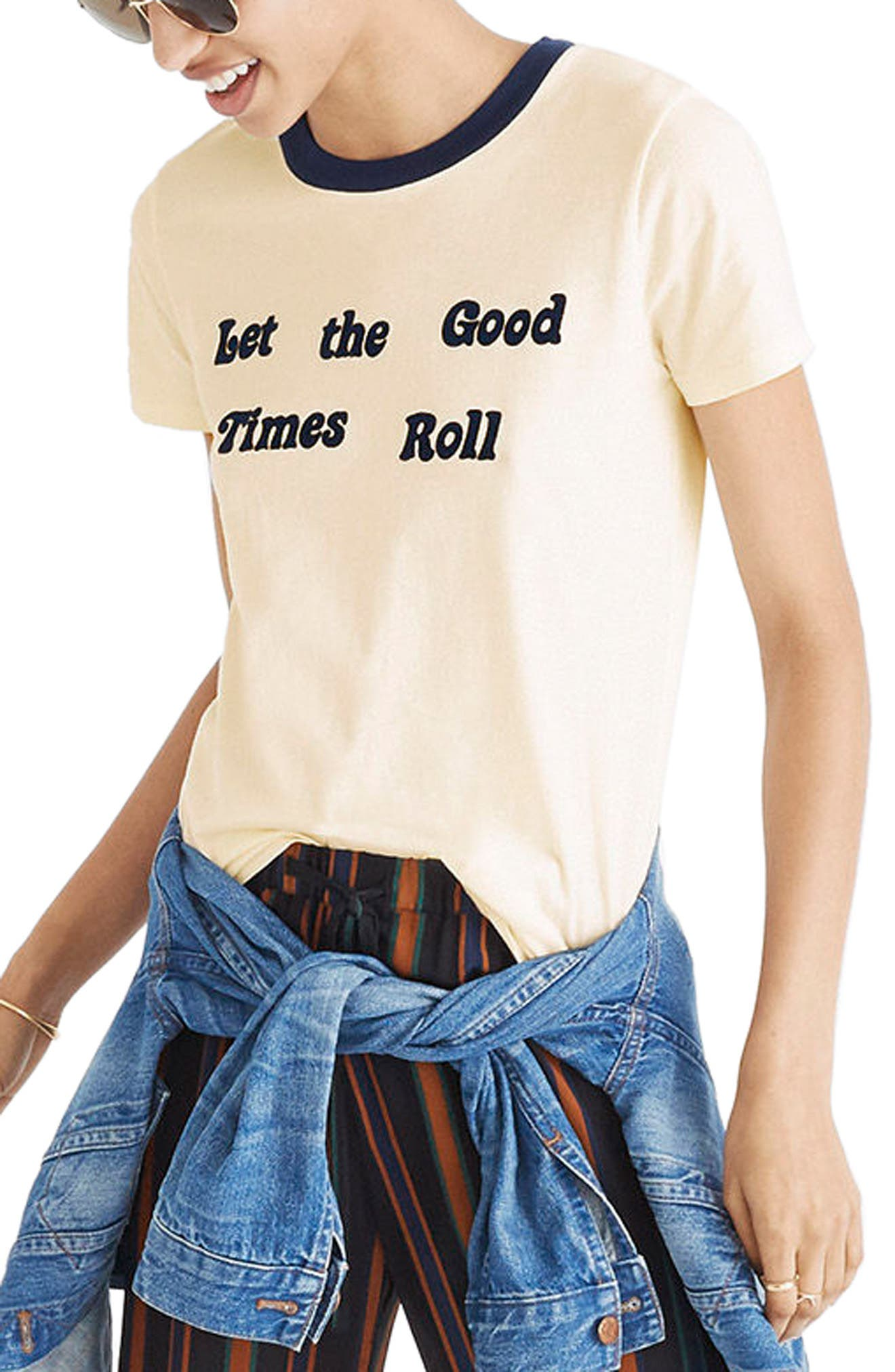 Let the Good Times Roll Ringer Tee,                             Main thumbnail 1, color,                             Bright Ivory