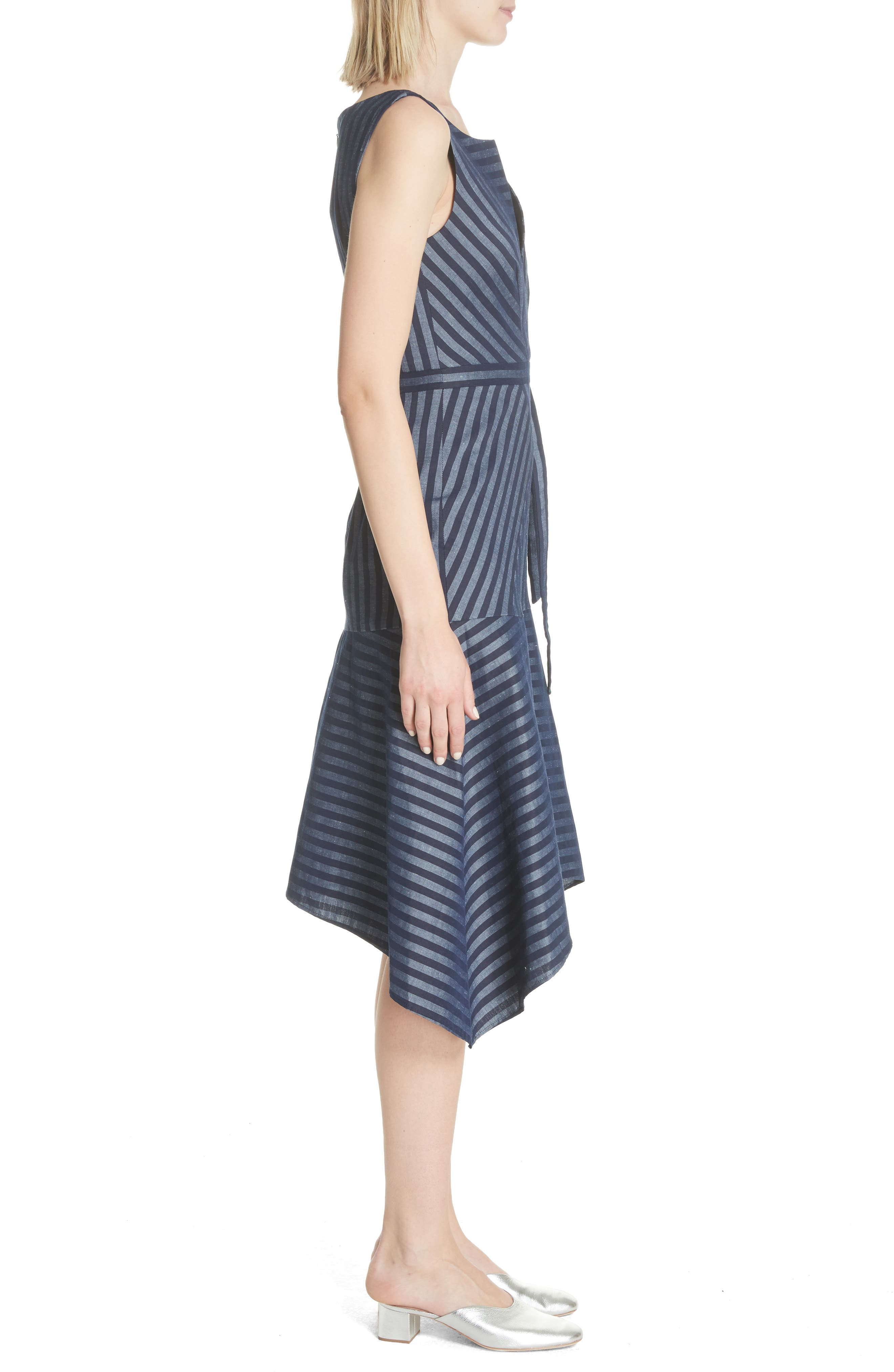 Directional Stripe A-Line Dress,                             Alternate thumbnail 3, color,                             India Ink