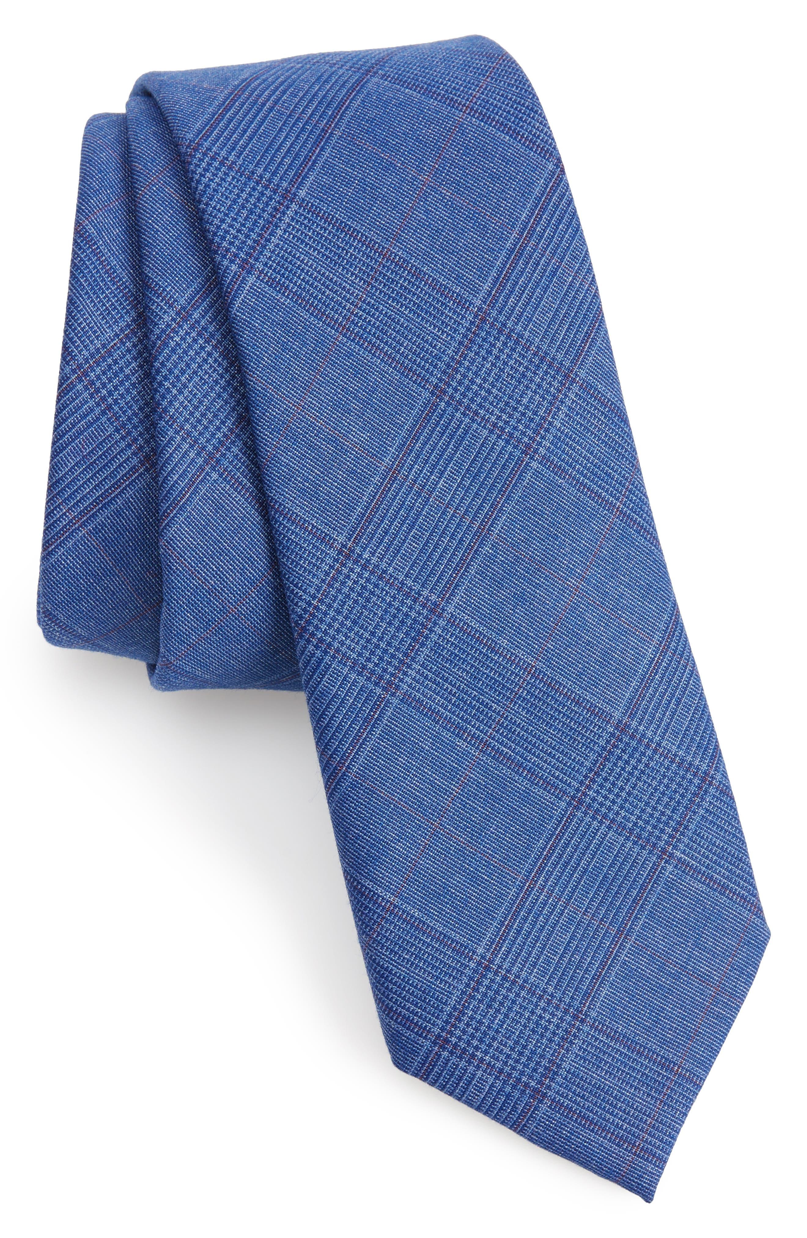 Wheaton Plaid Skinny Tie,                         Main,                         color, Navy