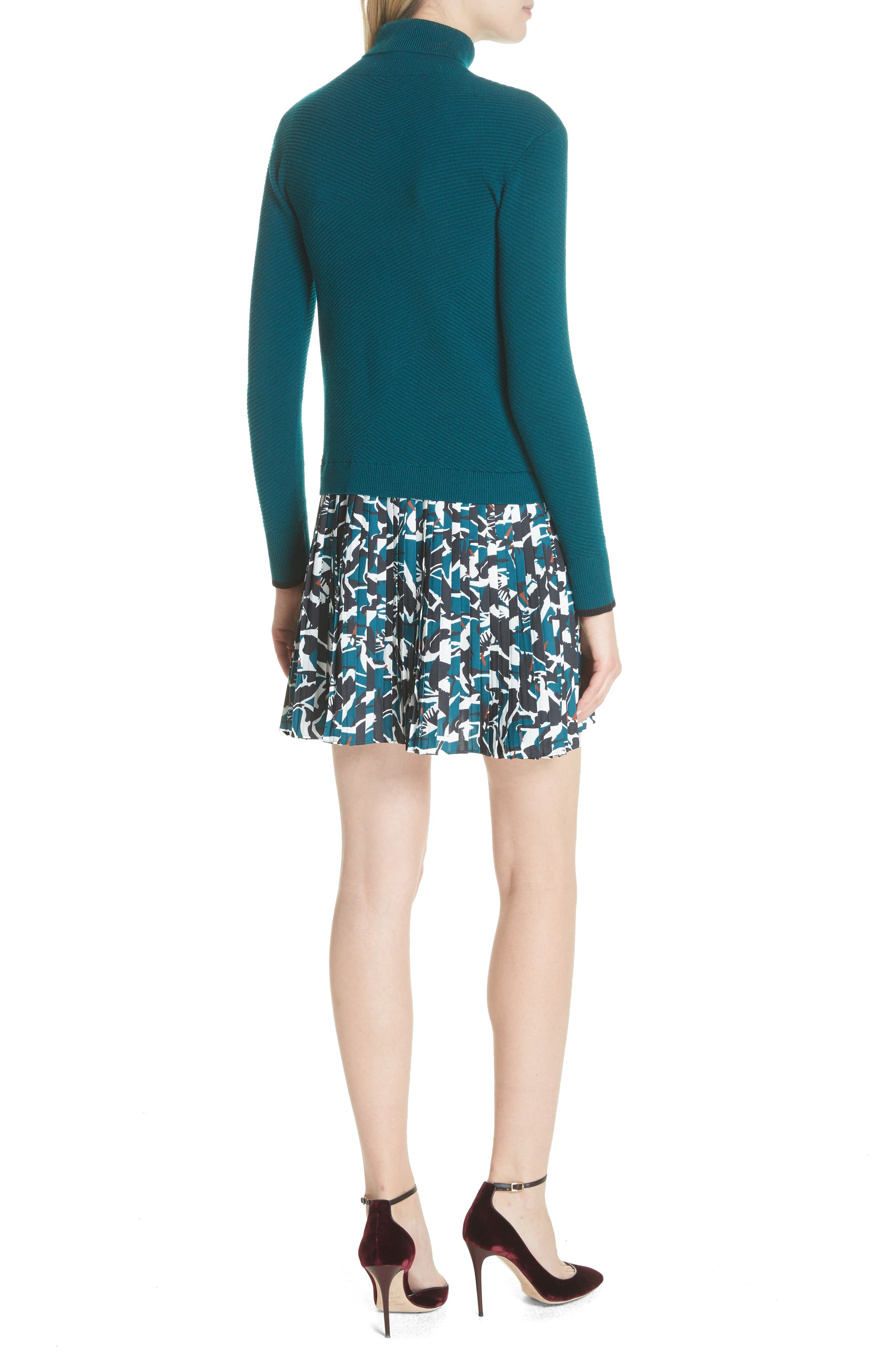 Colour by Numbers Mock Two-Piece Dress,                             Alternate thumbnail 2, color,                             Teal