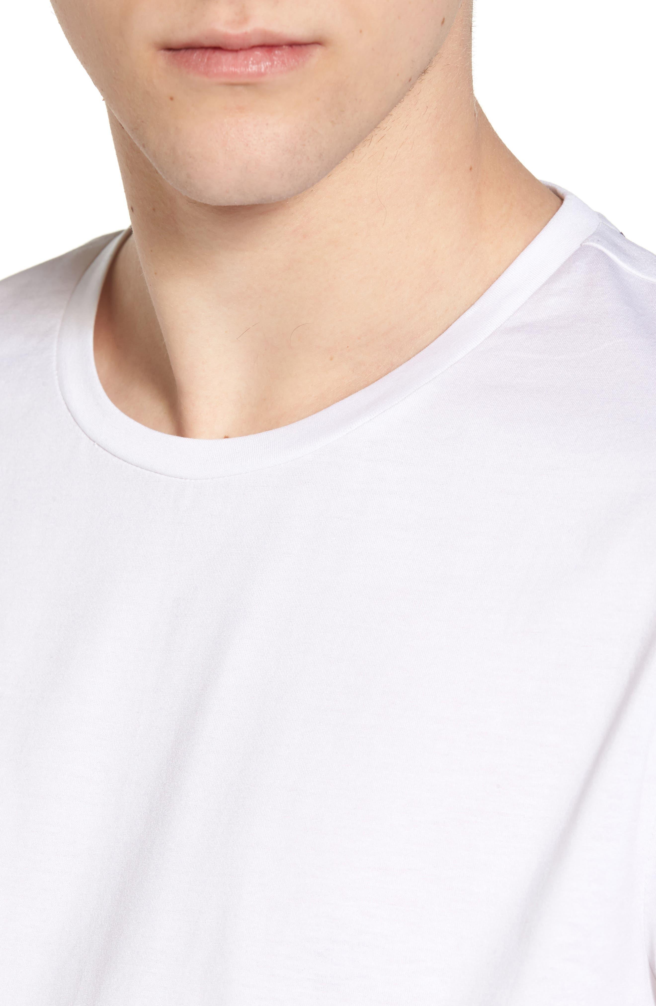 Mercerized Cotton Crewneck T-Shirt,                             Alternate thumbnail 4, color,                             White