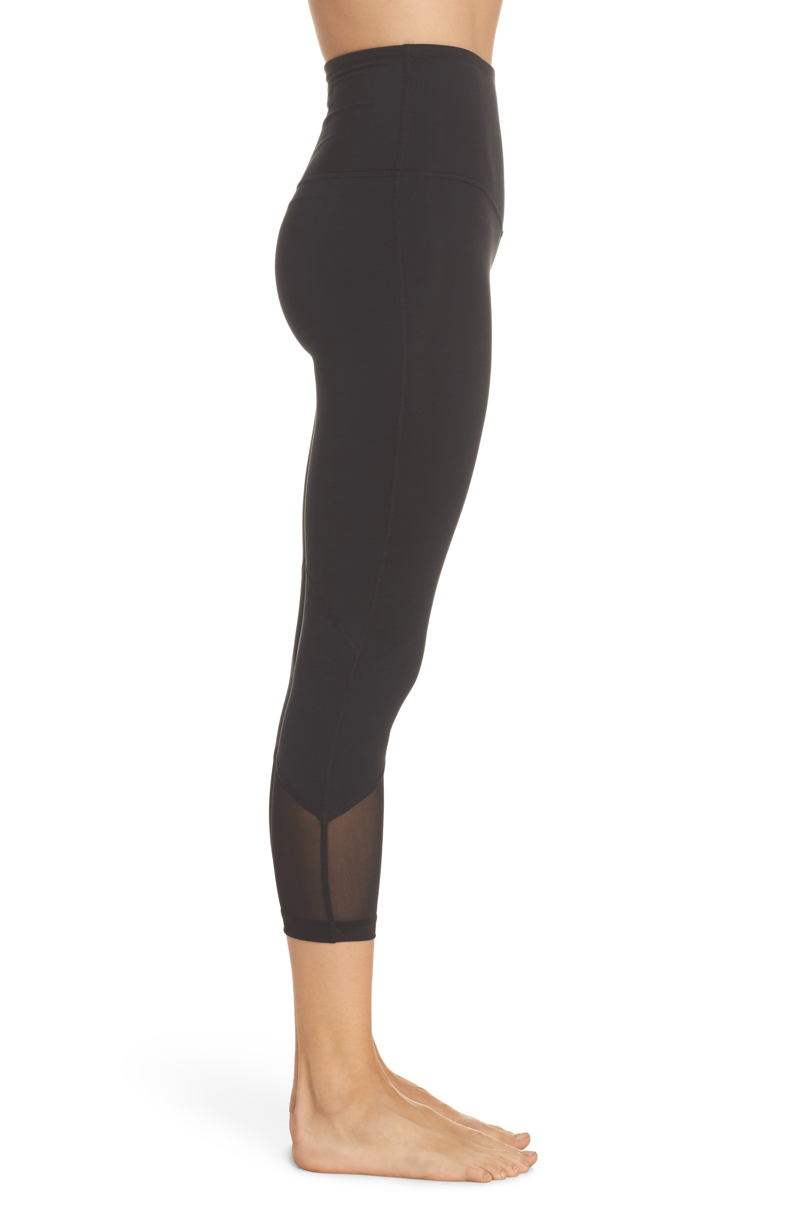 High Waist Gemini Light Crop Leggings,                             Alternate thumbnail 3, color,                             Black