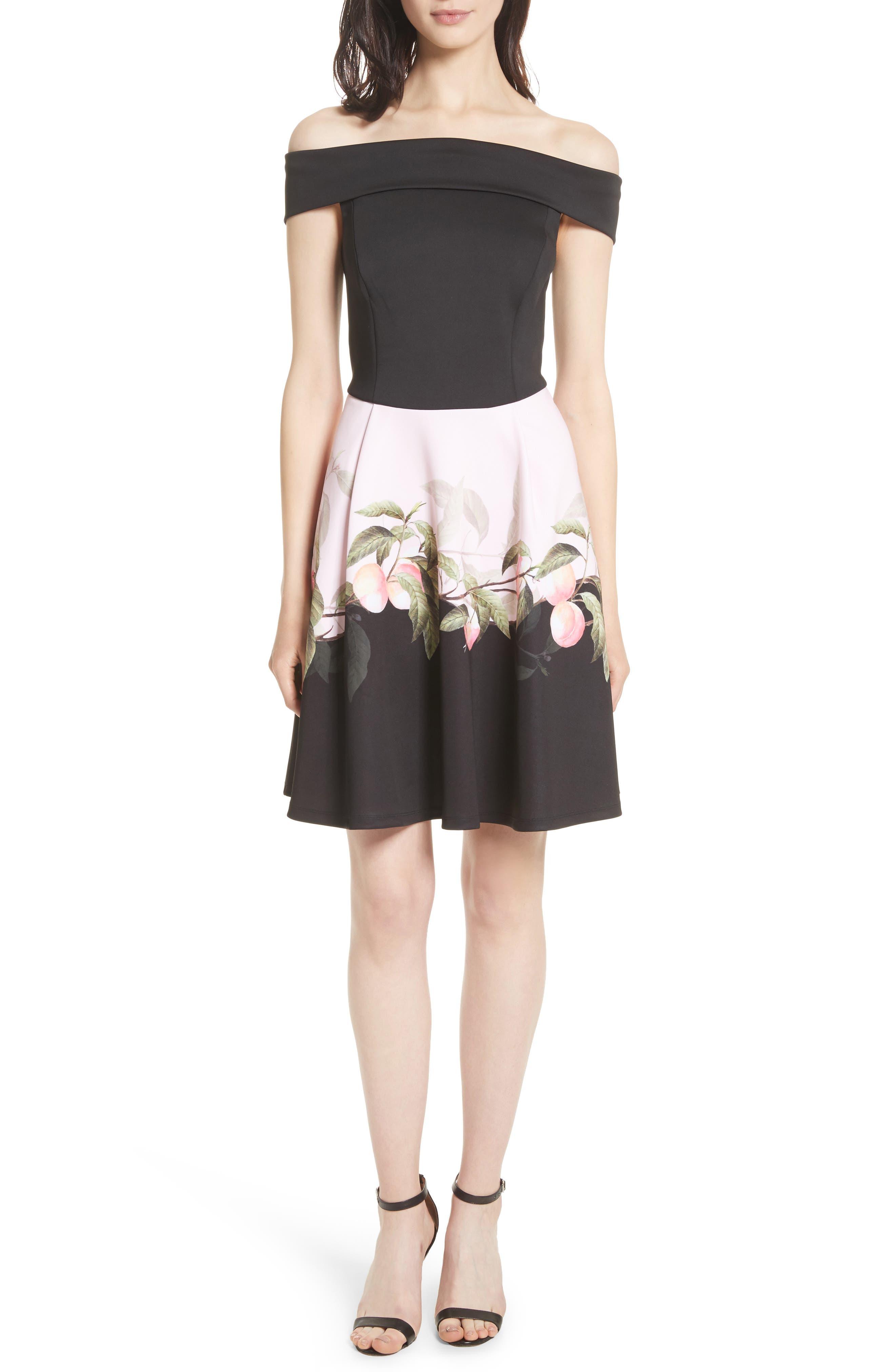 Peach Blossom Off the Shoulder Dress,                         Main,                         color, Black