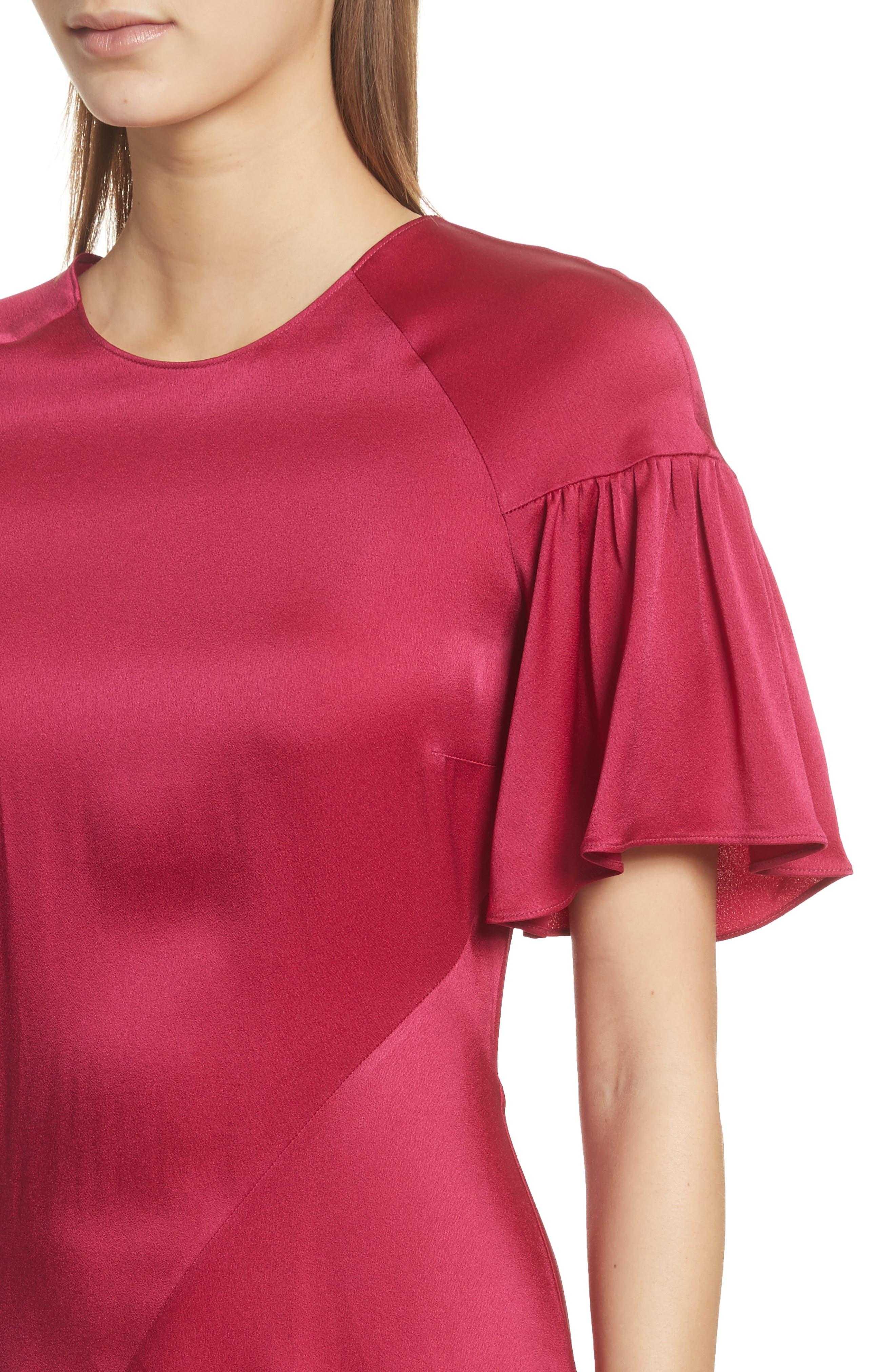 Tilly Asymmetrical Dress,                             Alternate thumbnail 4, color,                             Berry