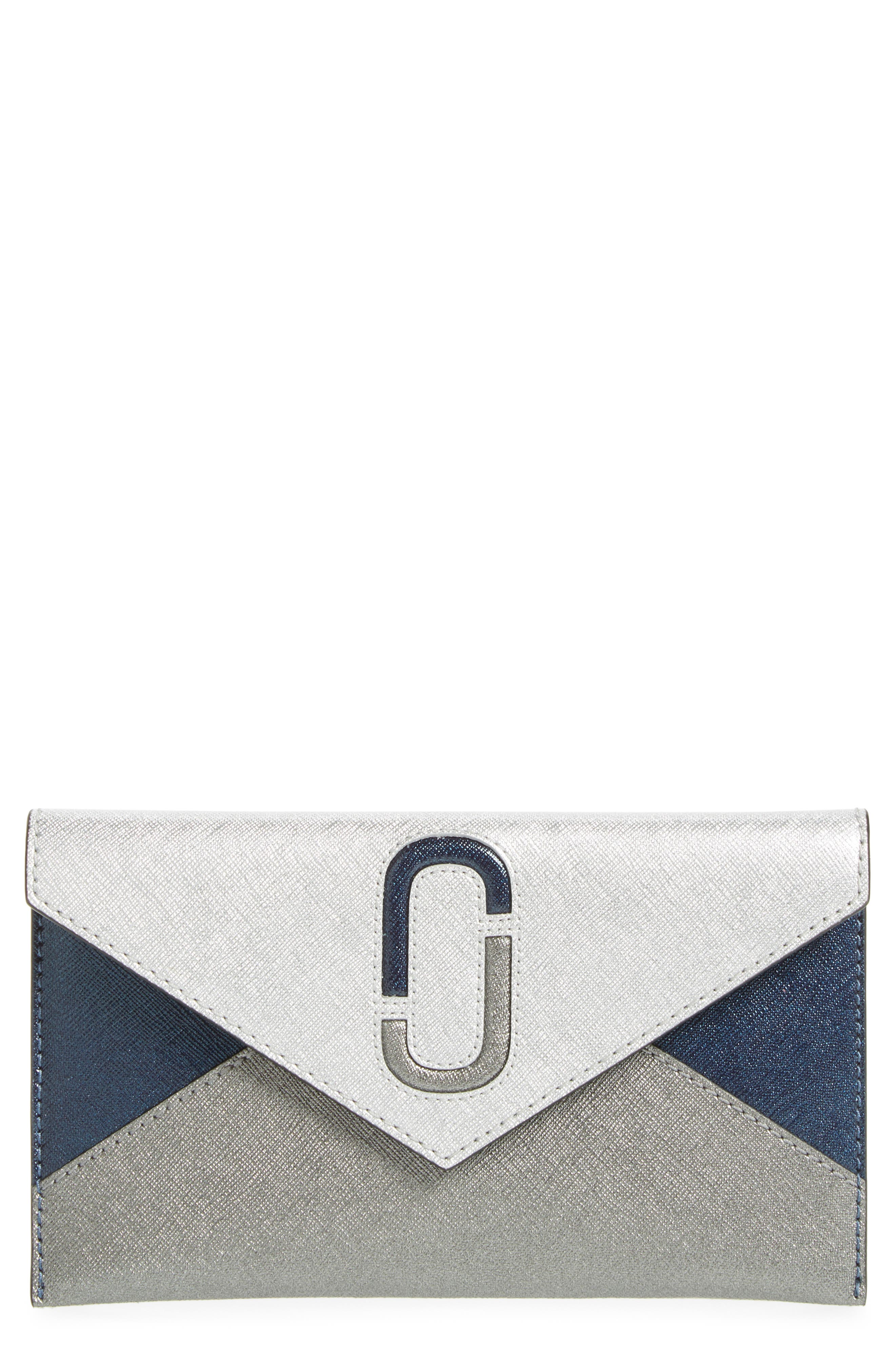 Double-J Saffiano Leather Pouch,                             Main thumbnail 1, color,                             Silver Multi