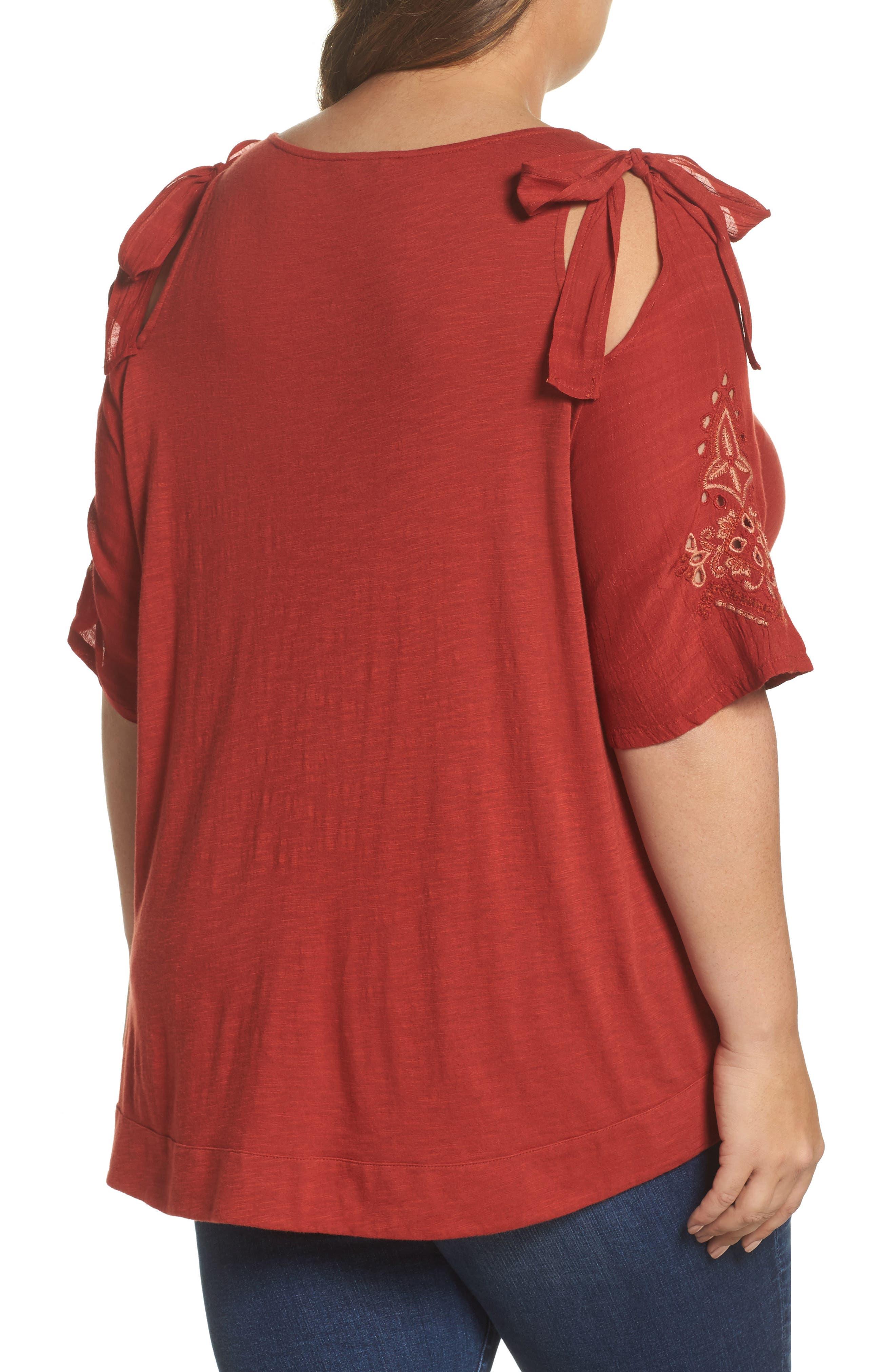 Embroidered Tie Shoulder Cold Shoulder Top,                             Alternate thumbnail 2, color,                             Heirloom Red