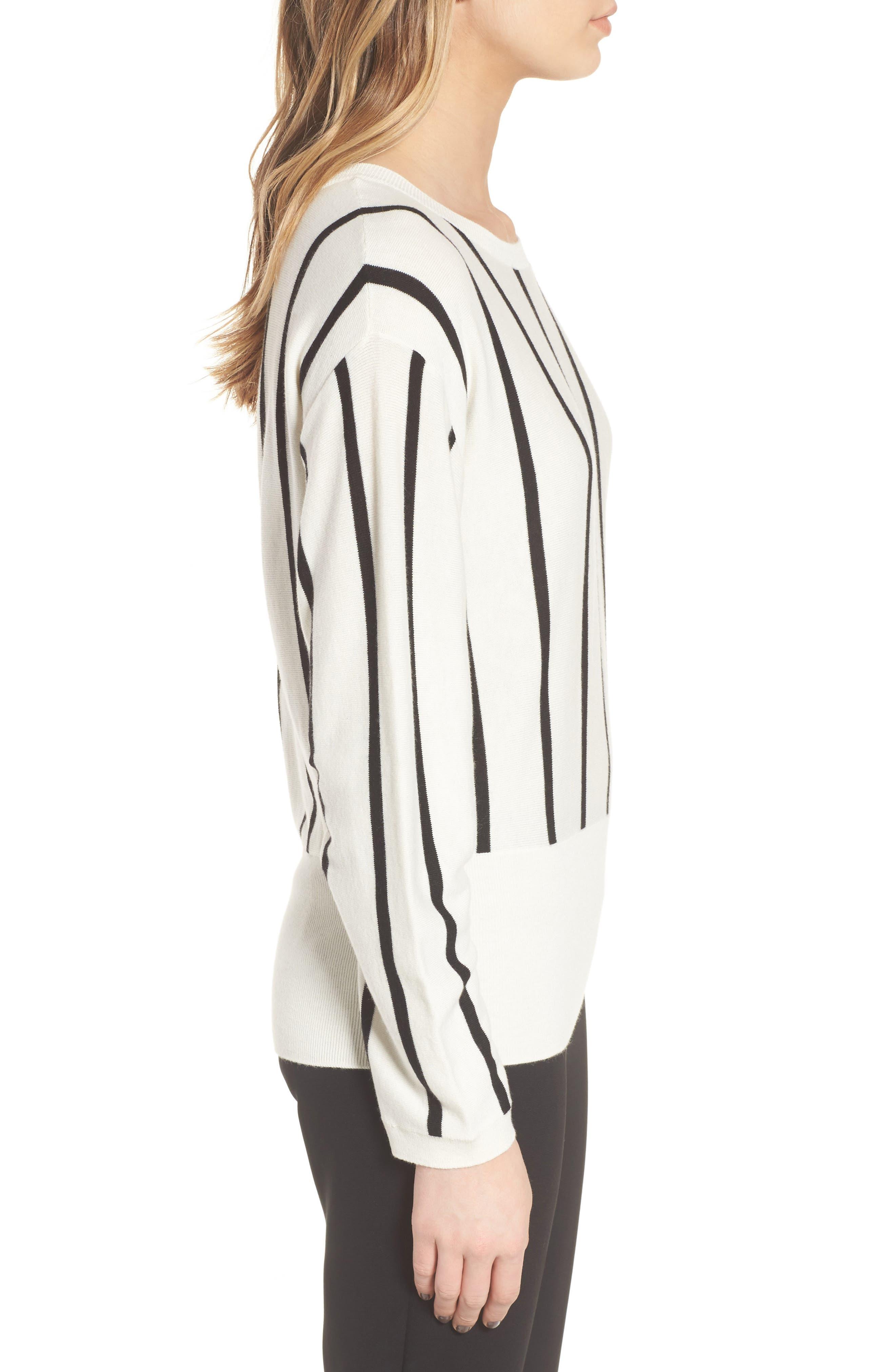 Vertical Stripe Sweater,                             Alternate thumbnail 3, color,                             Ivory/ Black Becky Stripe