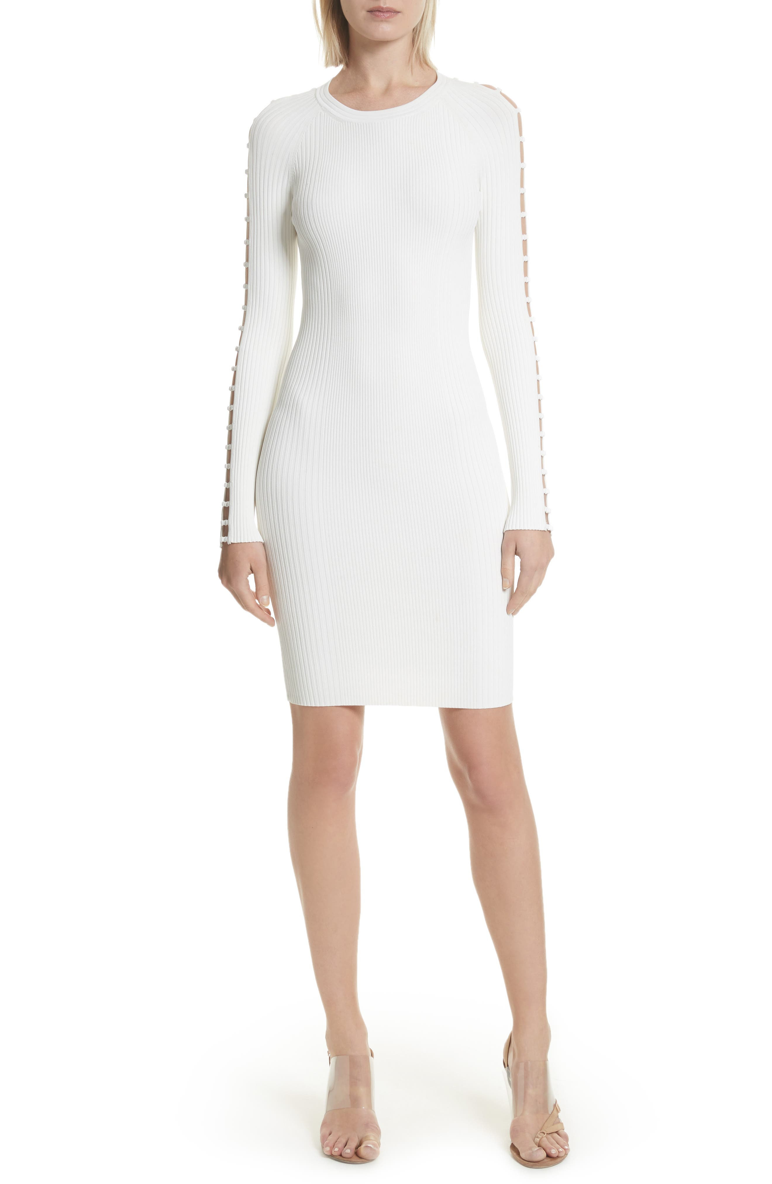 Bra Strap Sleeve Body-Con Dress,                         Main,                         color, Ivory