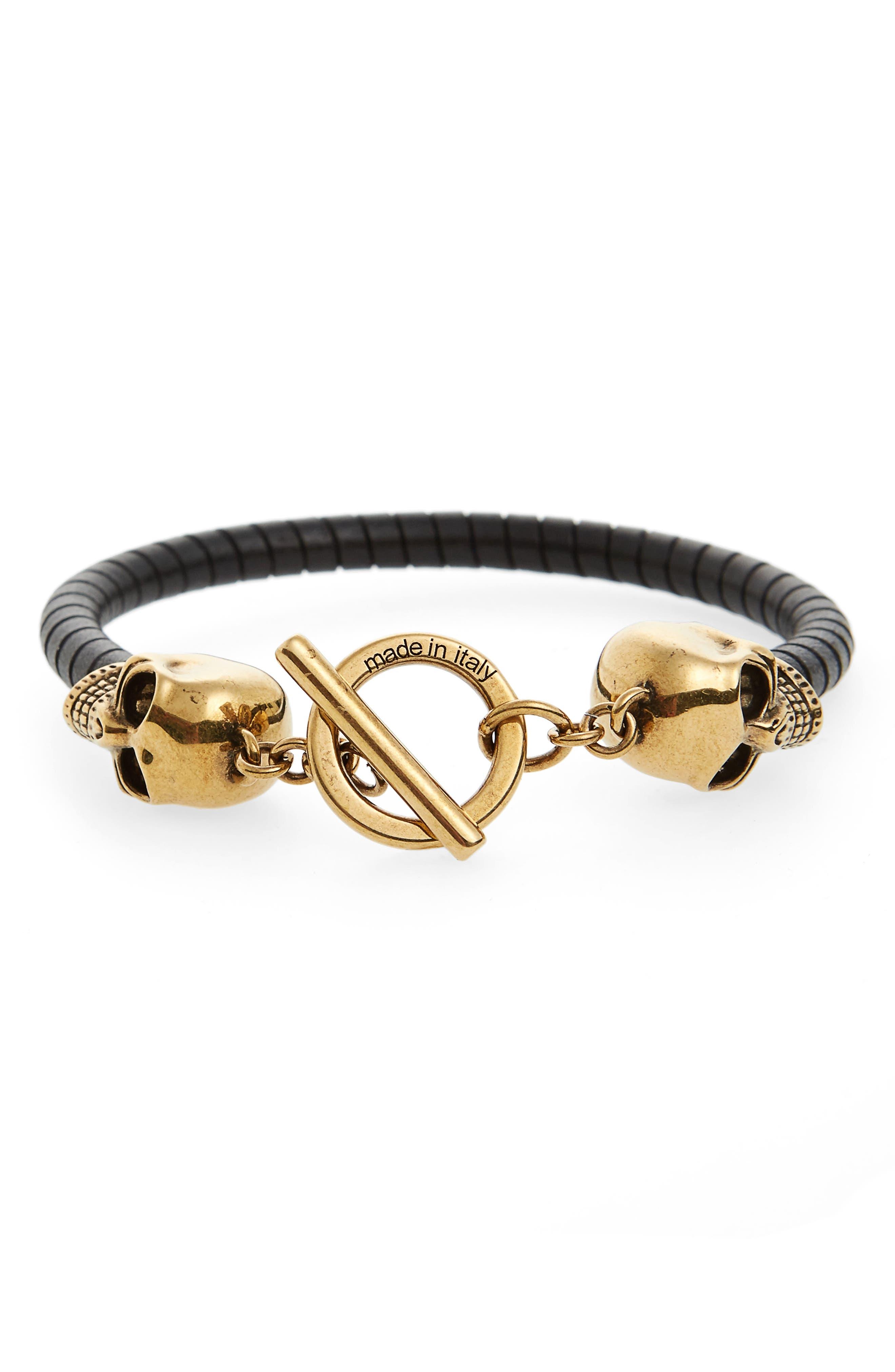 T-Bar Skull Bracelet,                         Main,                         color, Black