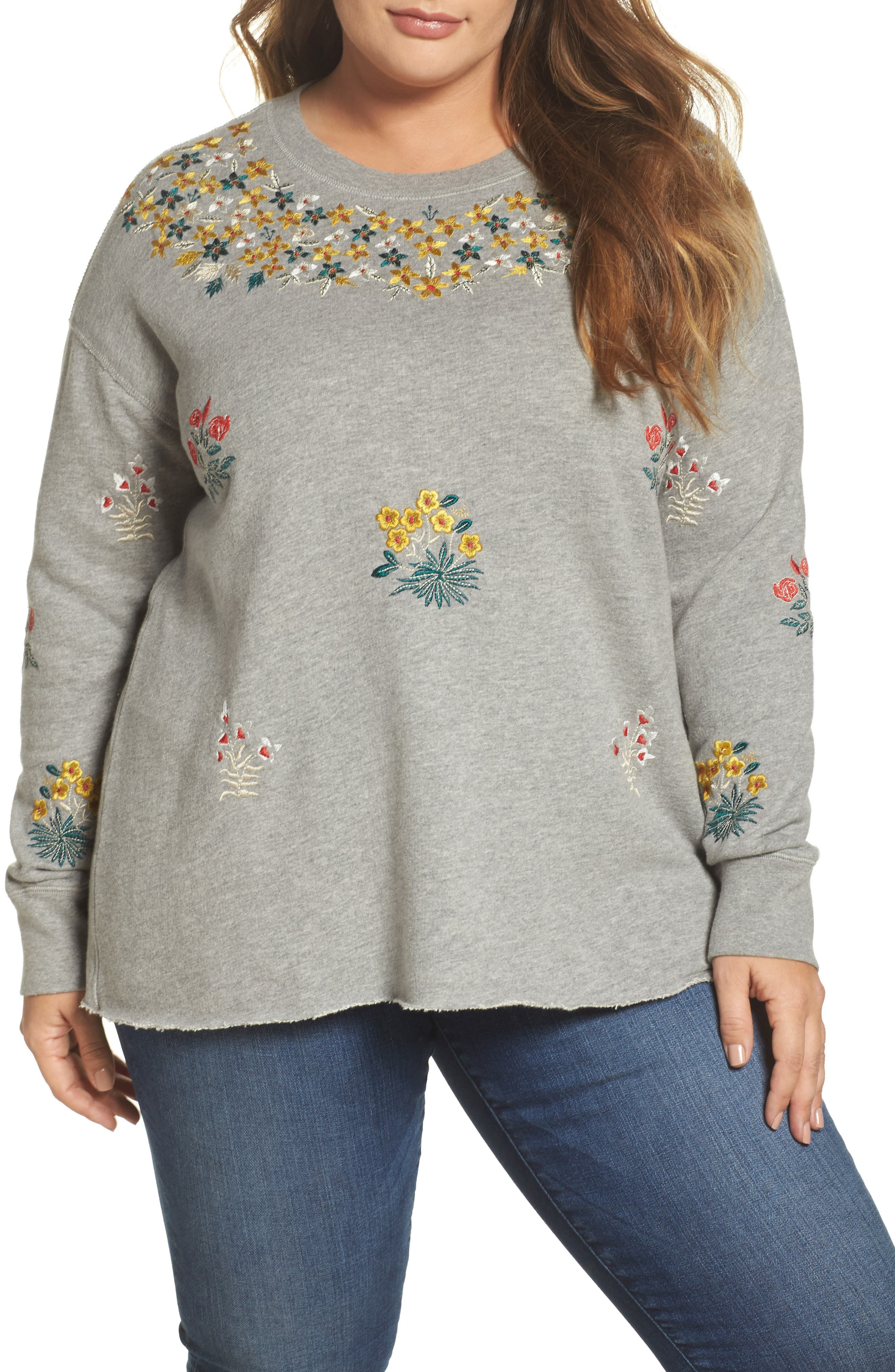 Embroidered Sweatshirt,                         Main,                         color, Heather Grey