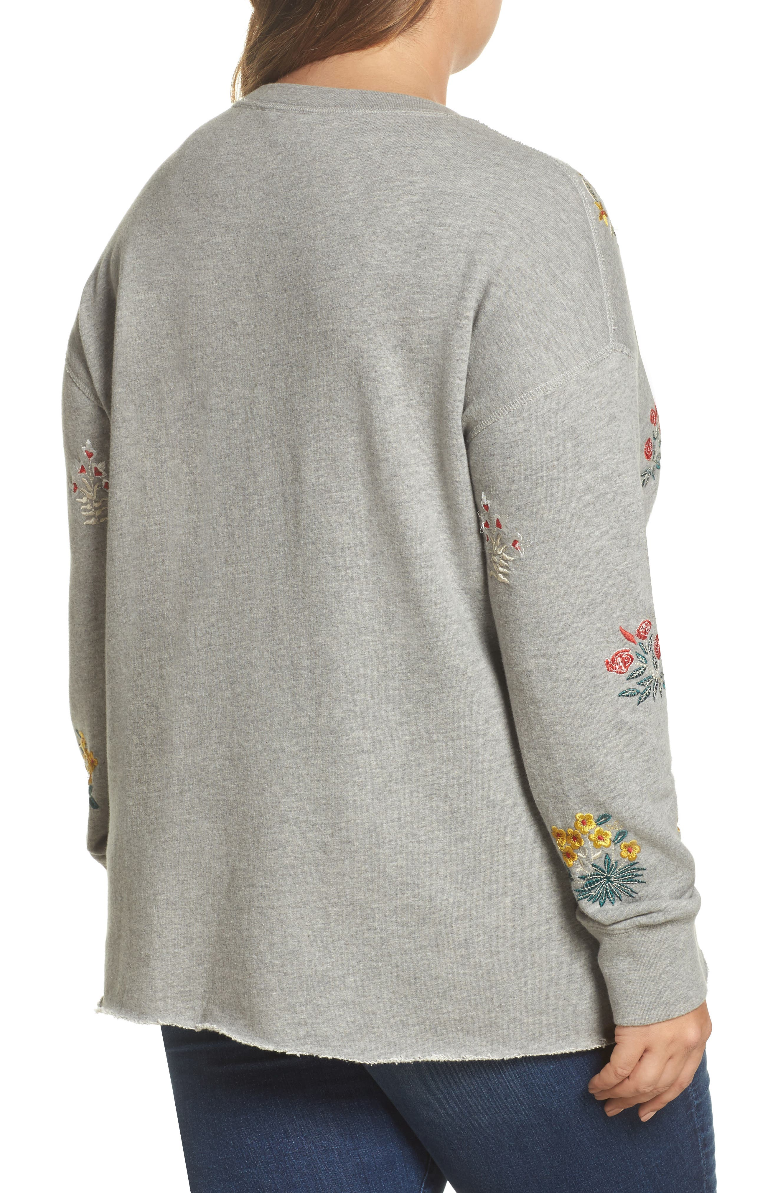 Embroidered Sweatshirt,                             Alternate thumbnail 2, color,                             Heather Grey
