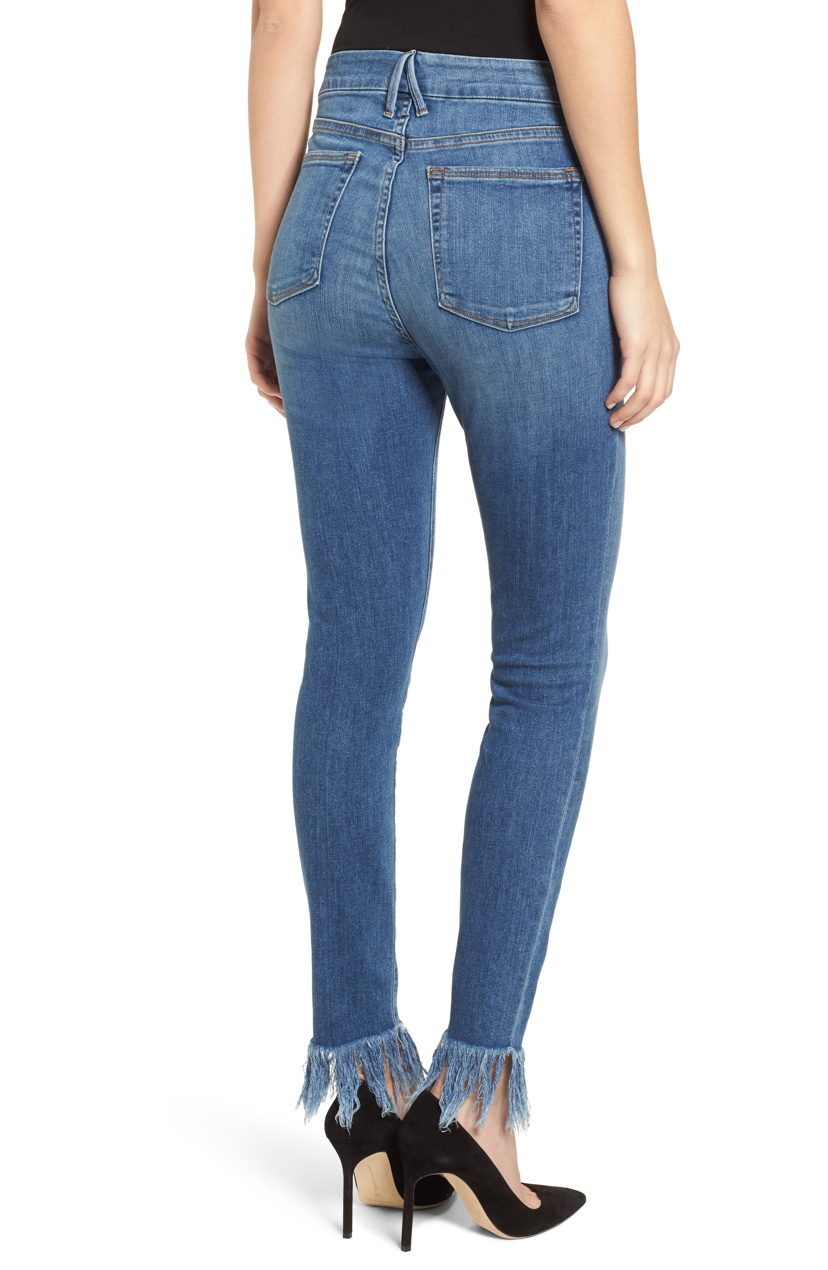 Good Waist Extreme Fray Skinny Jeans,                             Alternate thumbnail 2, color,                             Blue154