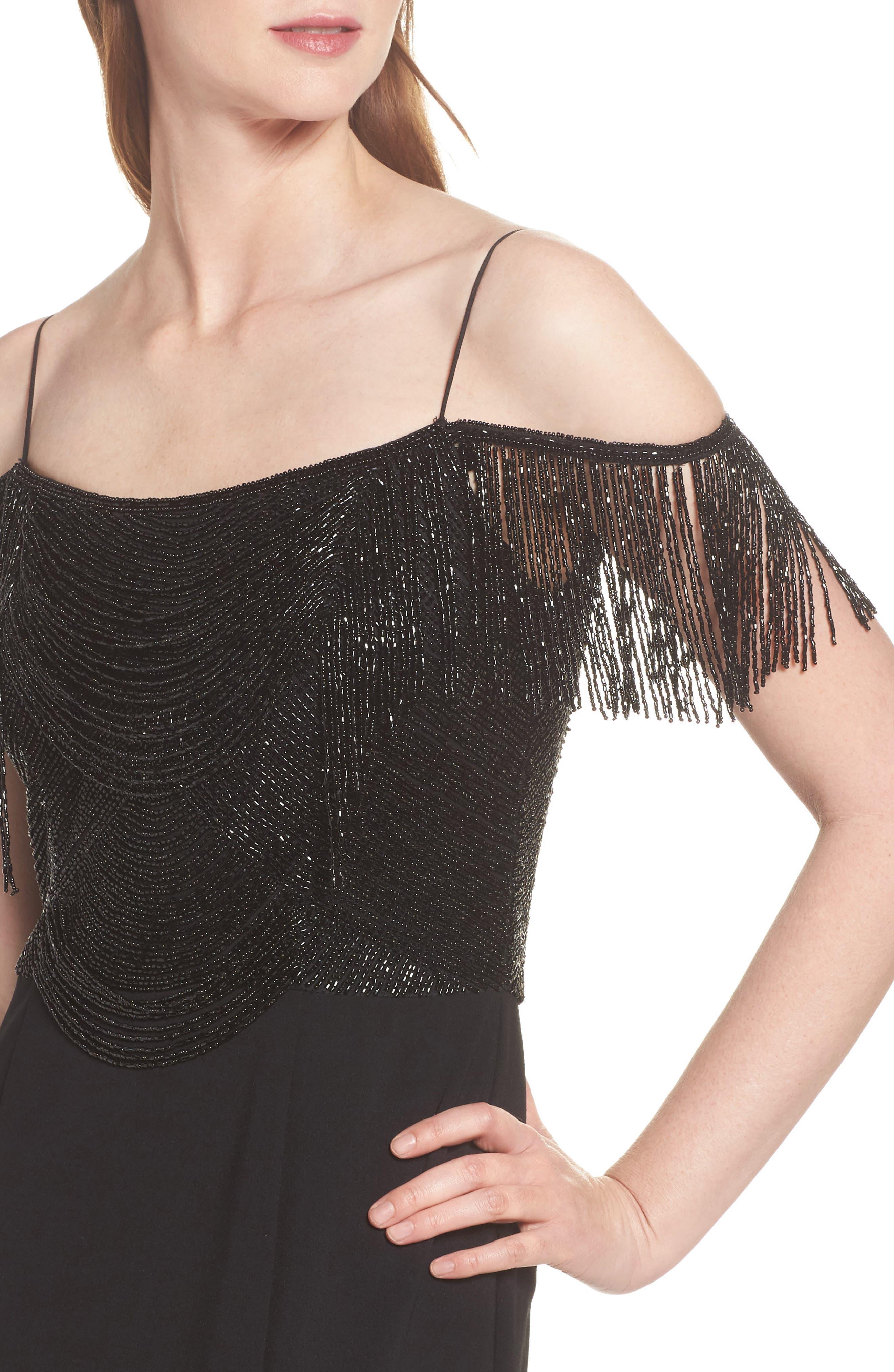 Fringe Cold Shoulder Crepe Gown,                             Alternate thumbnail 4, color,                             Black