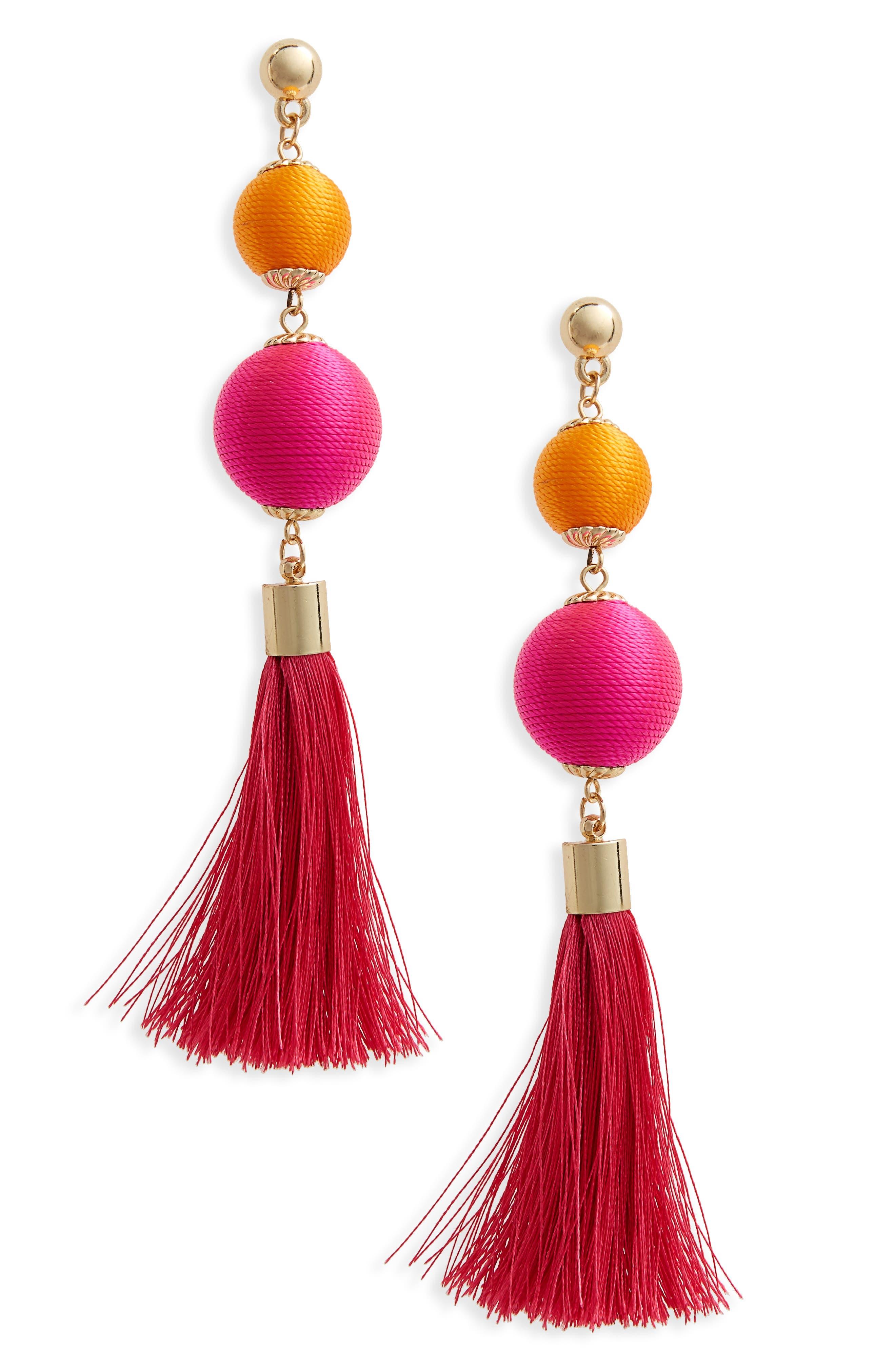 Ball Drop Earrings,                         Main,                         color, Pink