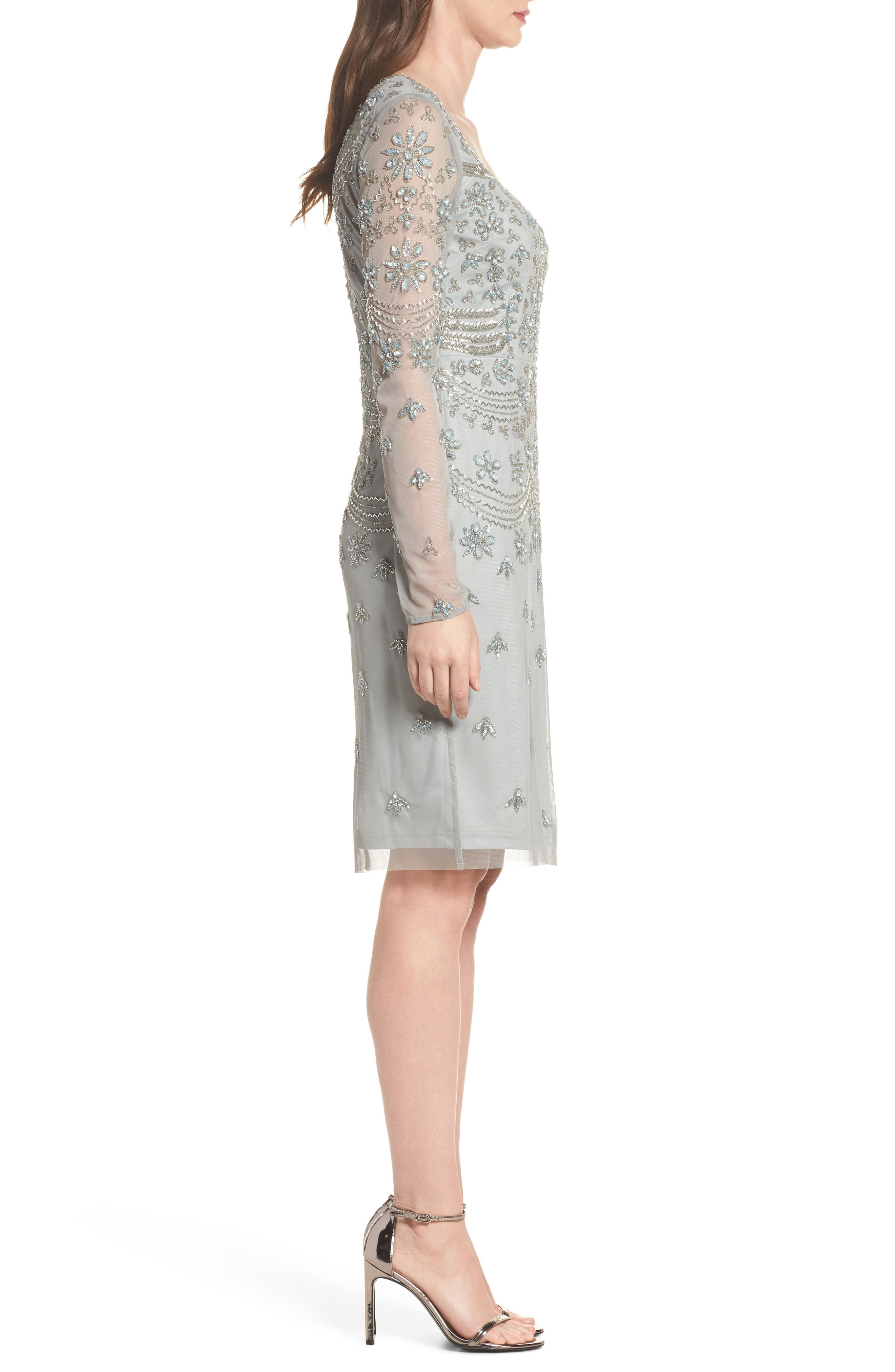 Beaded Mesh Sheath Dress,                             Alternate thumbnail 3, color,                             Blue Mist