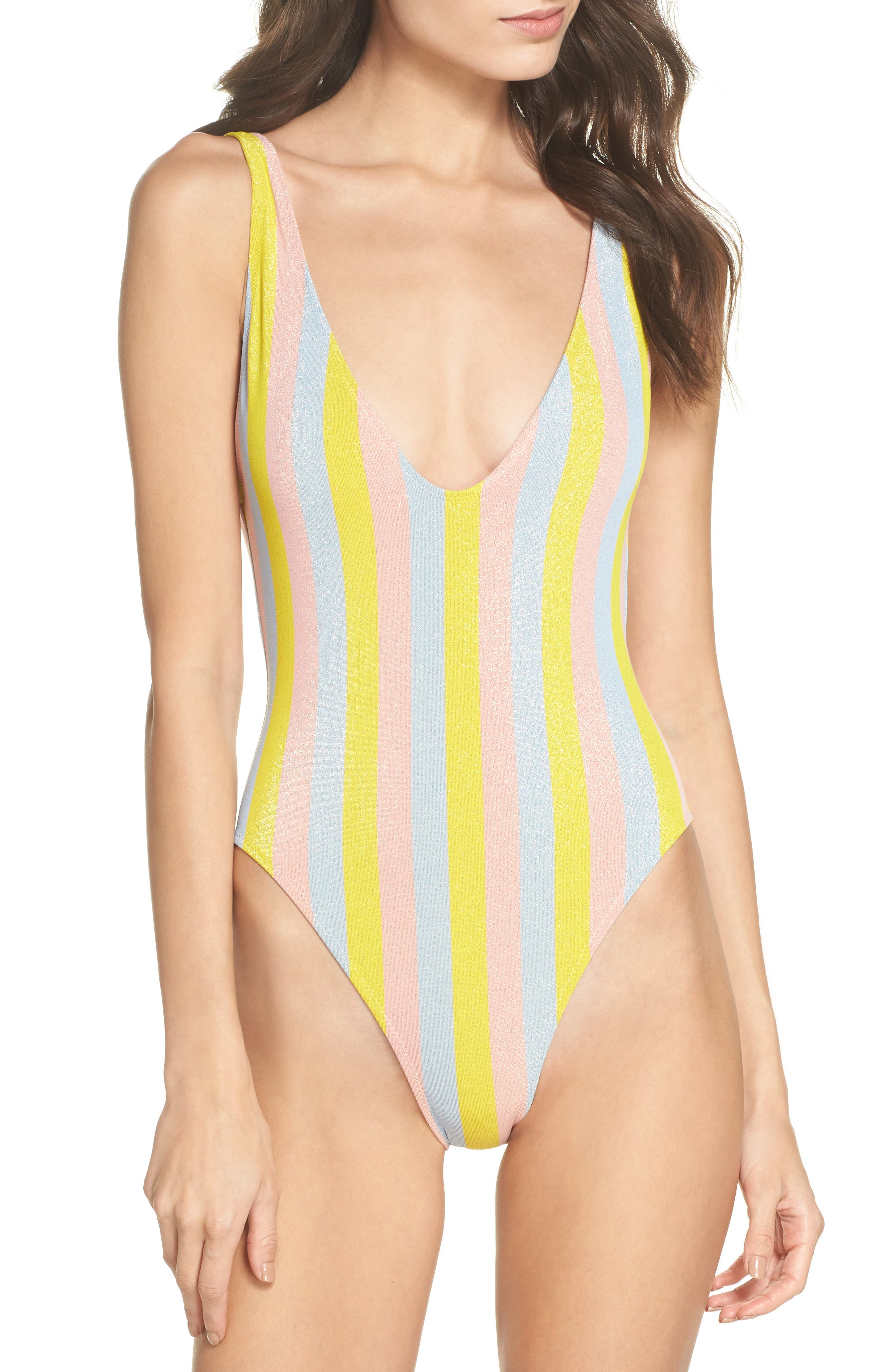 The Michelle One-Piece Swimsuit,                             Main thumbnail 1, color,                             Yellow/ Blue/ Pink