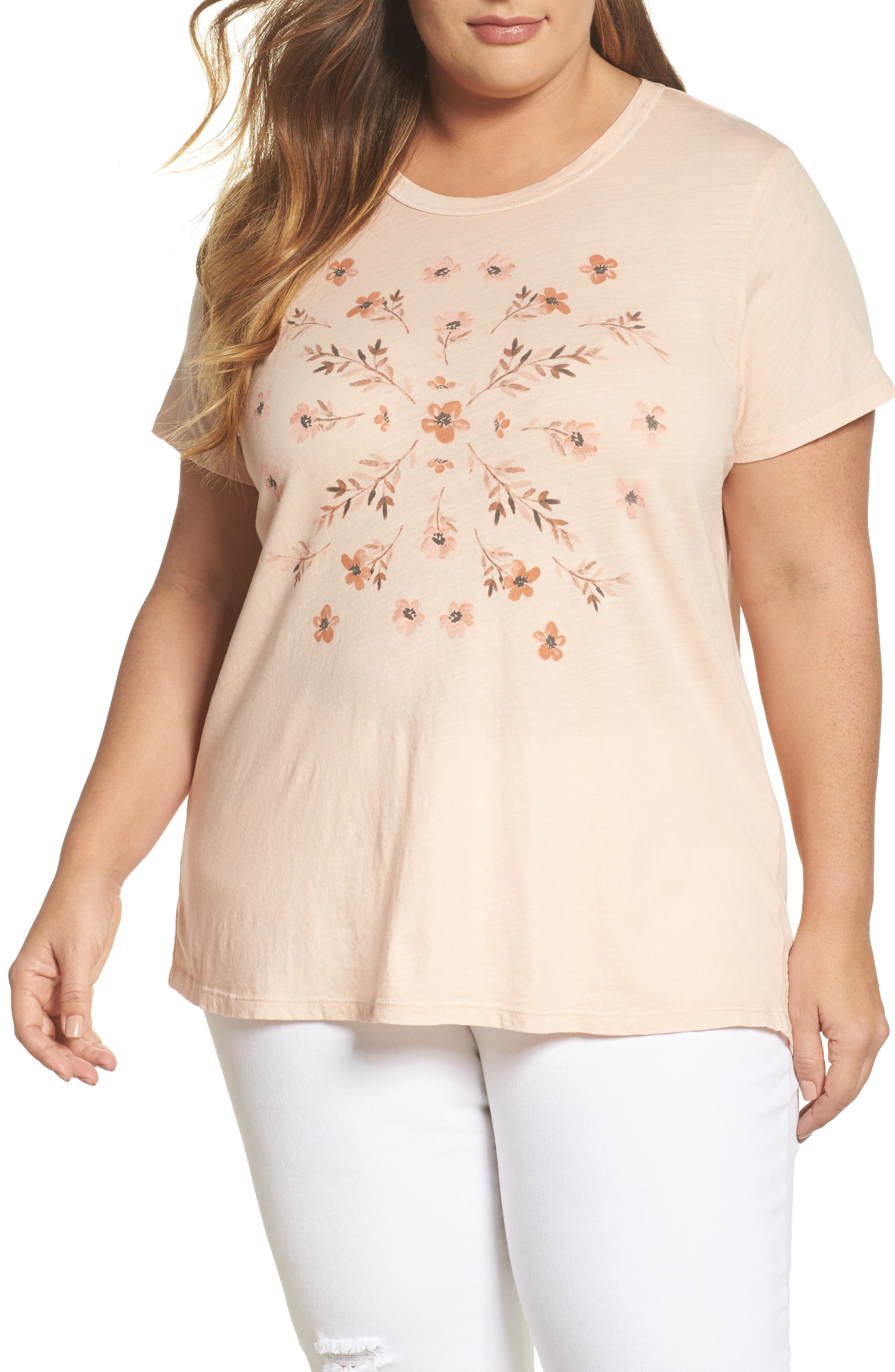 Lucky Brand Stamped Flowers Tee (Plus Size)