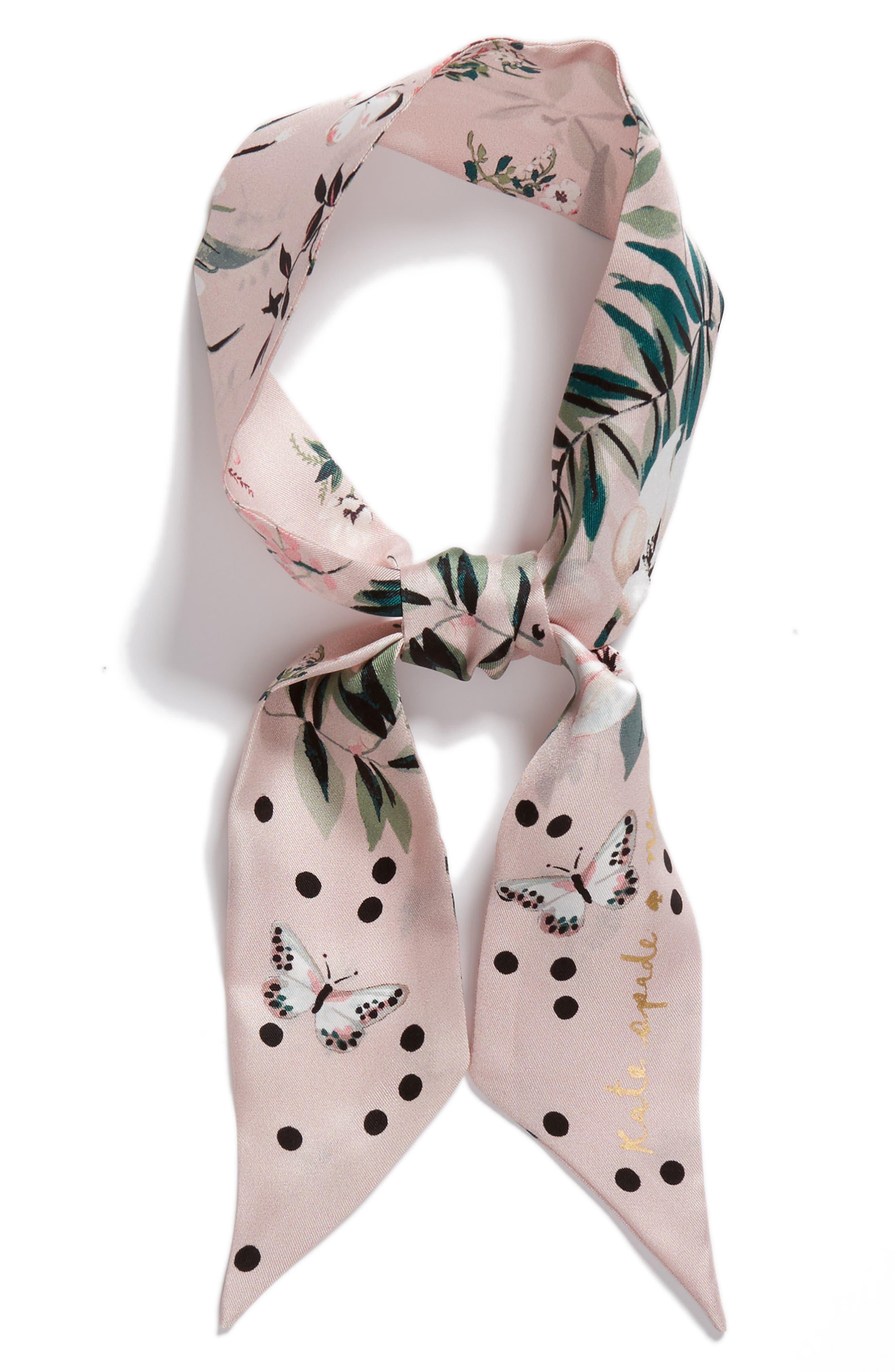 flora skinny silk scarf,                             Alternate thumbnail 3, color,                             Cameo Pink