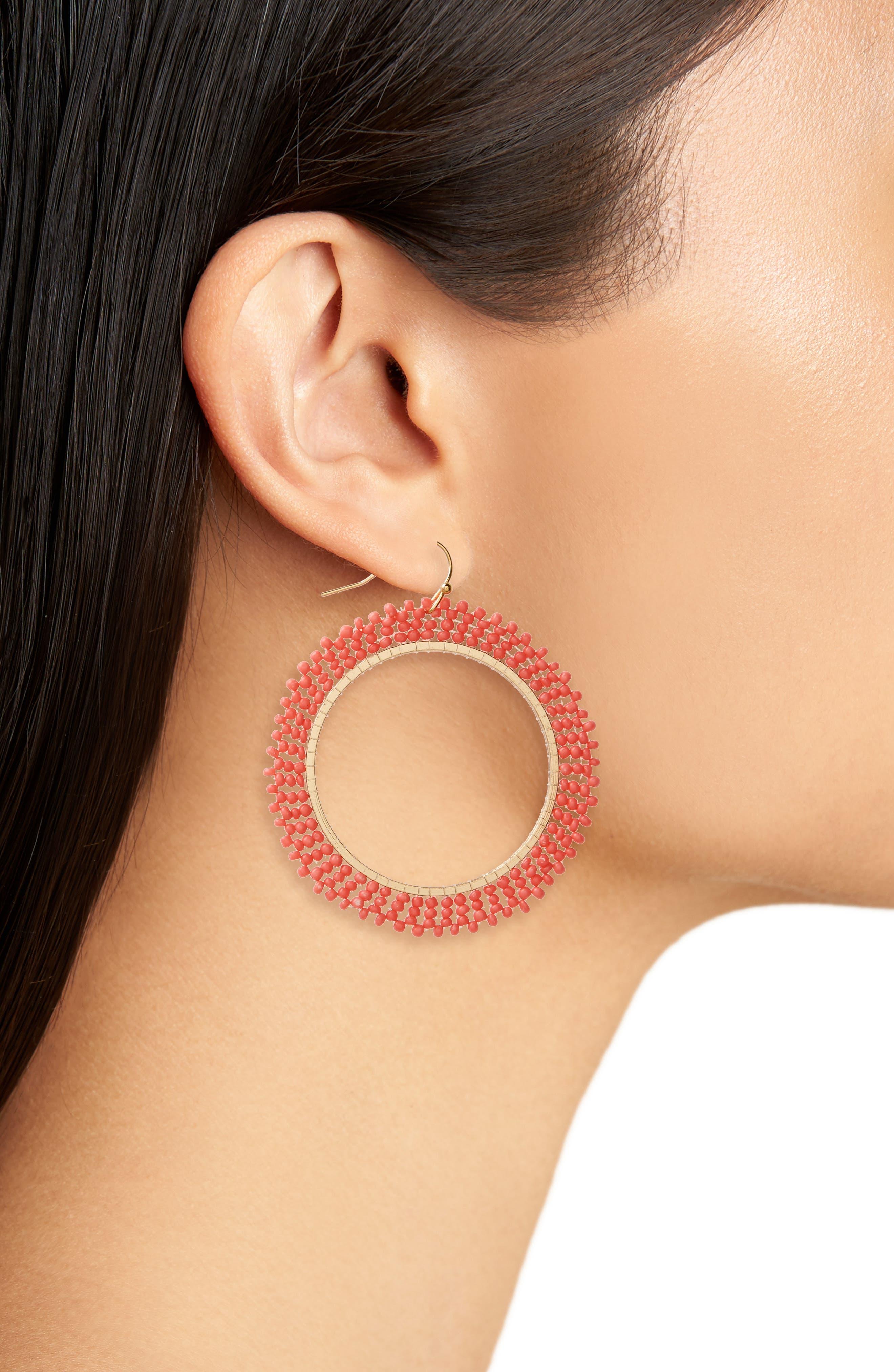 Beaded Hoop Earrings,                             Alternate thumbnail 2, color,                             Coral
