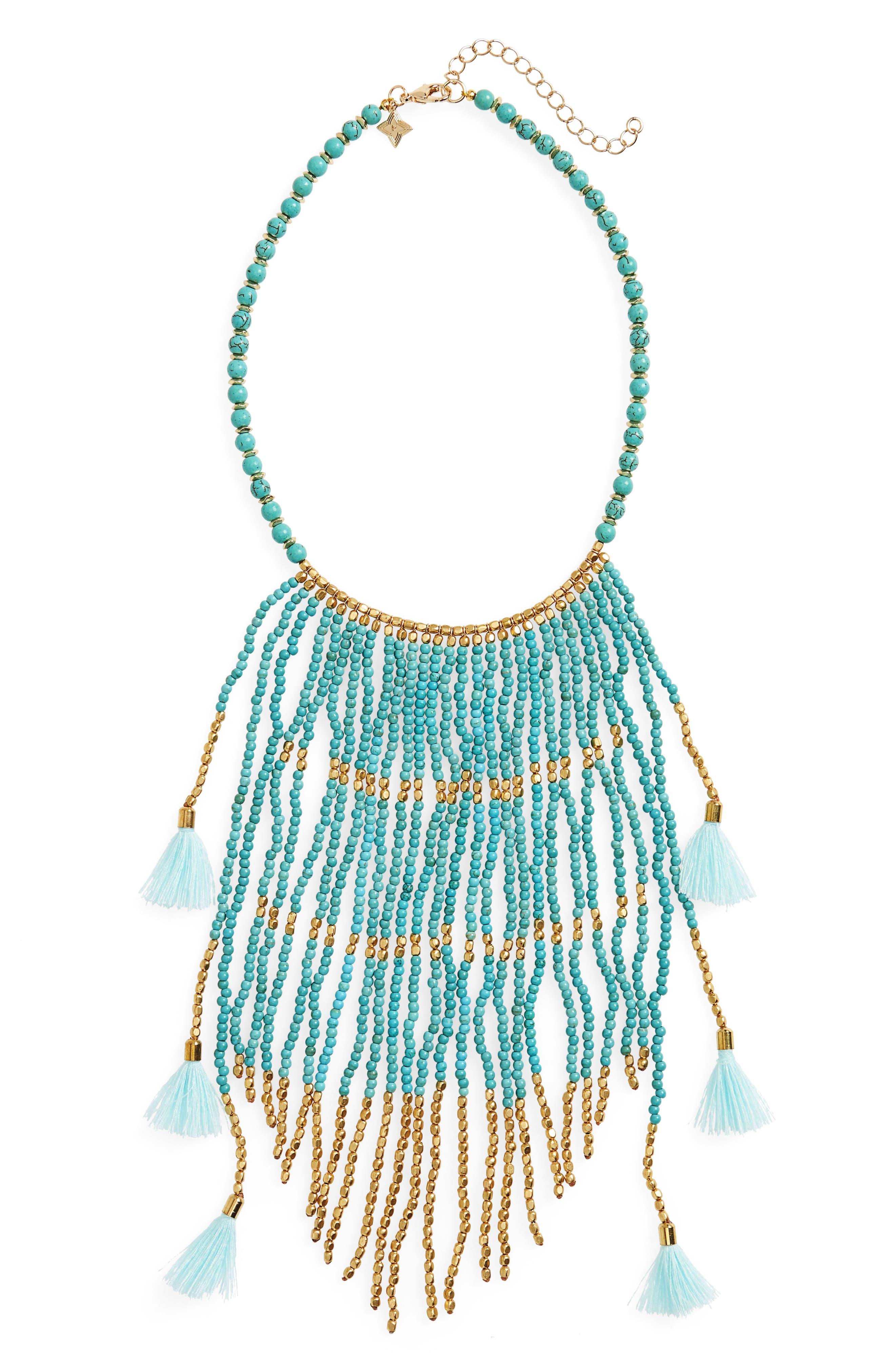 Beaded Fringe Statement Necklace,                             Main thumbnail 1, color,                             Turquoise
