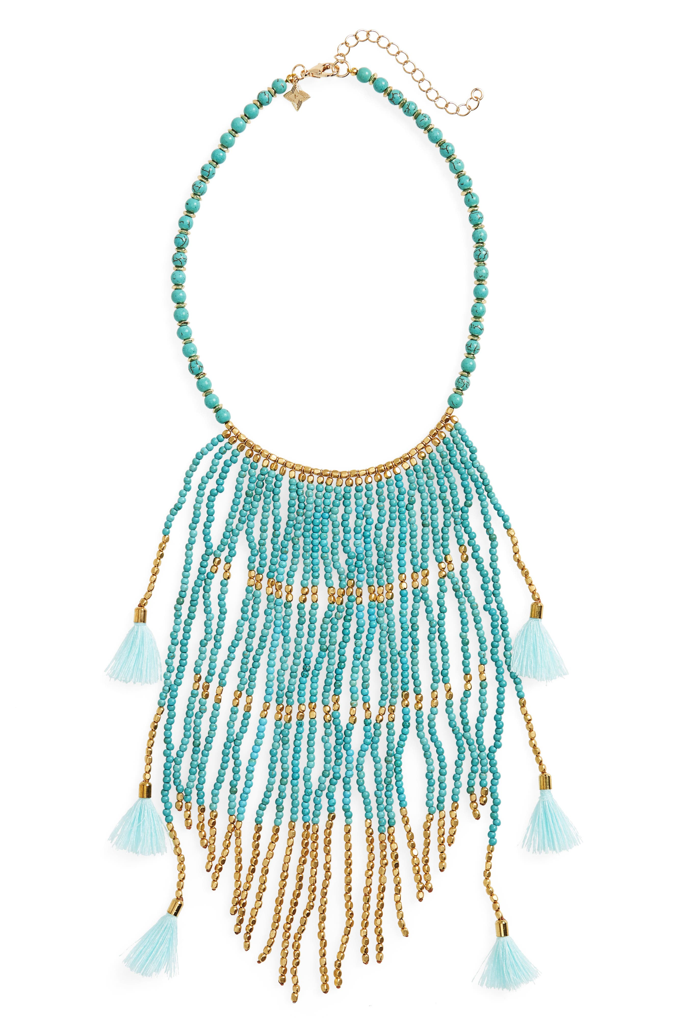 Beaded Fringe Statement Necklace,                         Main,                         color, Turquoise