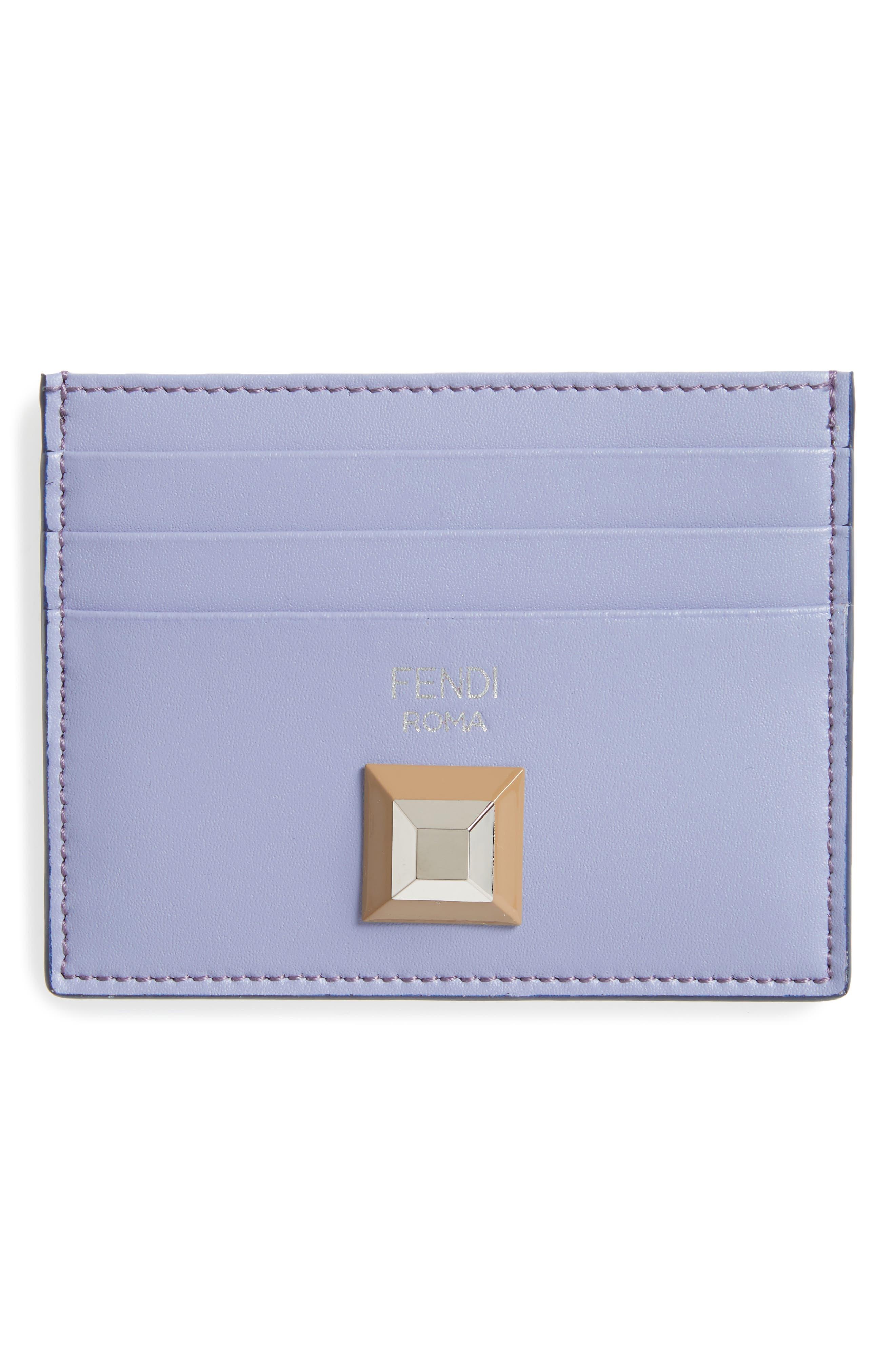 Rainbow Stud Leather Card Case,                         Main,                         color, Sky/ Maroon
