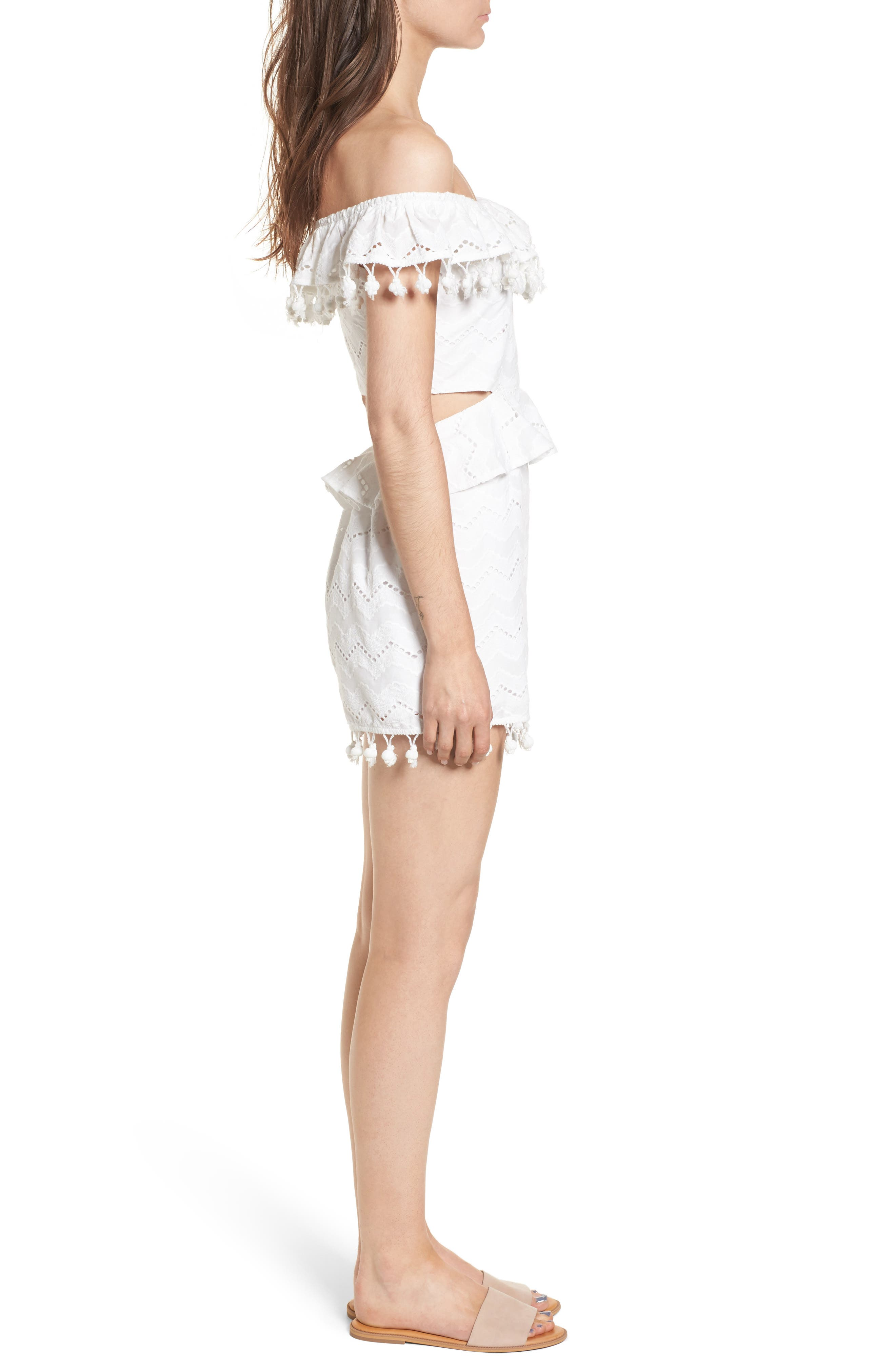 Pompom Cutout Off the Shoulder Romper,                             Alternate thumbnail 4, color,                             White