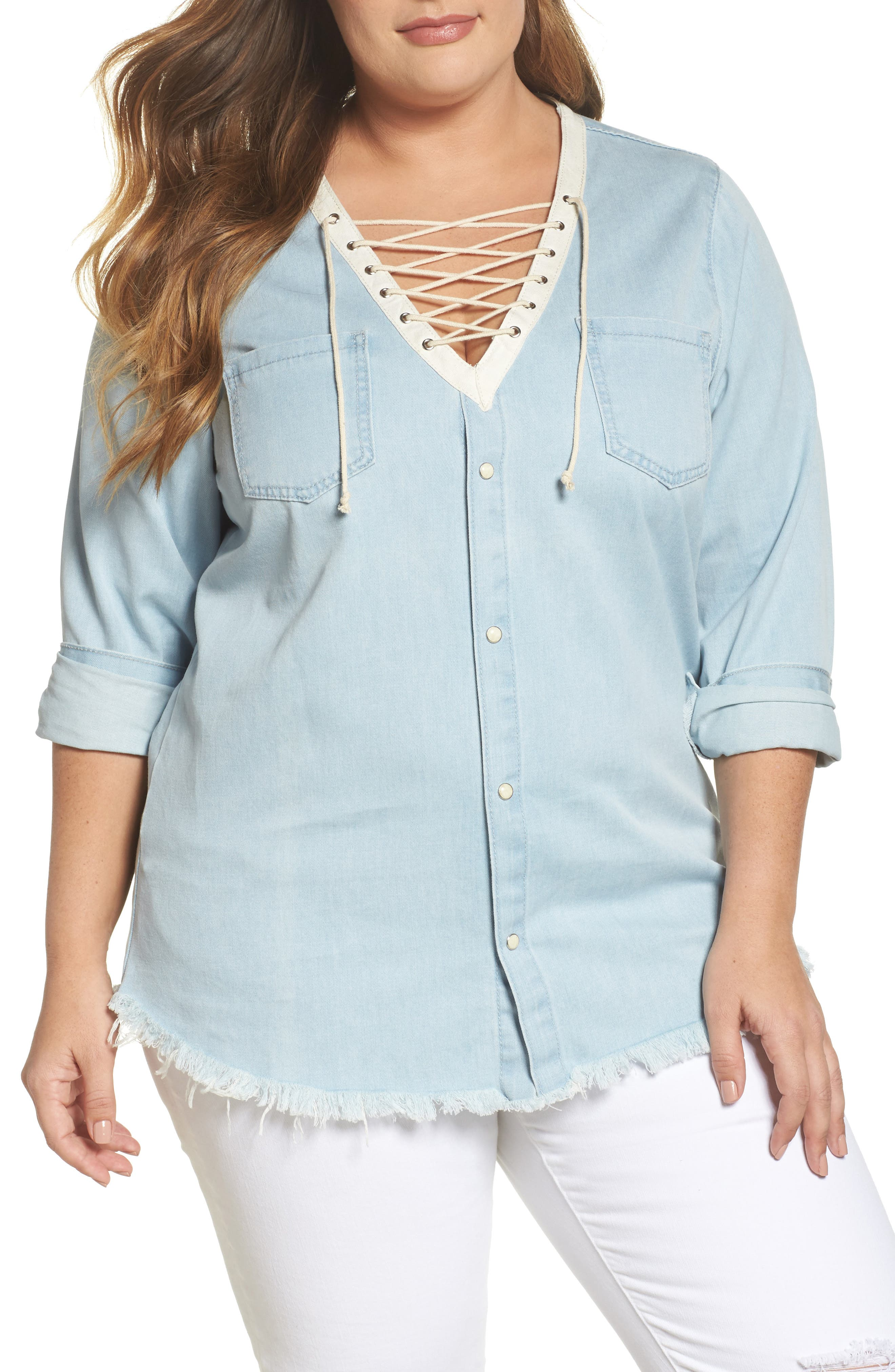 Lace-Up Chambray Top,                         Main,                         color, Light Blue