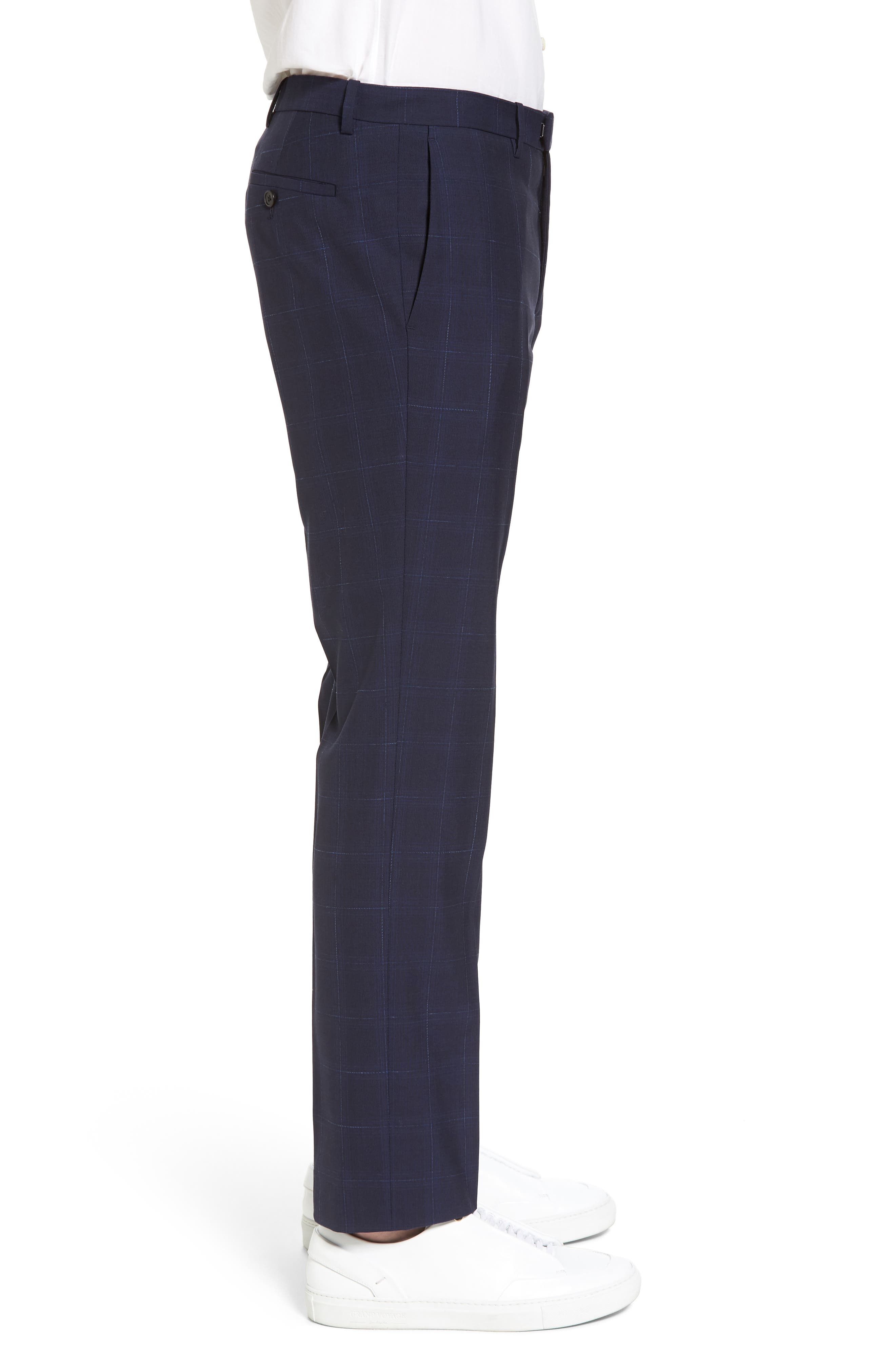 Marlo Flat Front Plaid Wool Trousers,                             Alternate thumbnail 3, color,                             Eclipse
